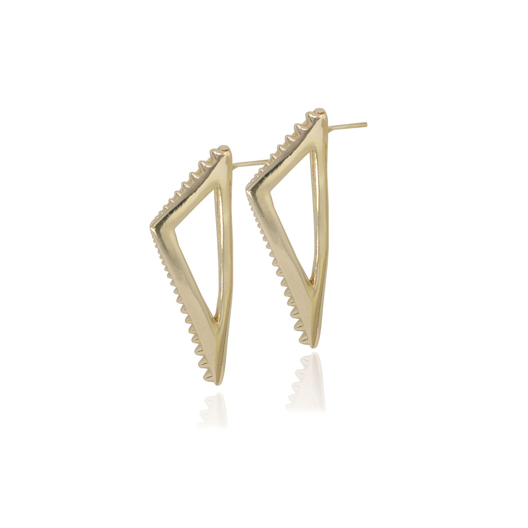 Brinco Semi joia triângulo com spikes vazada banhado a ouro 18k ou rhodium