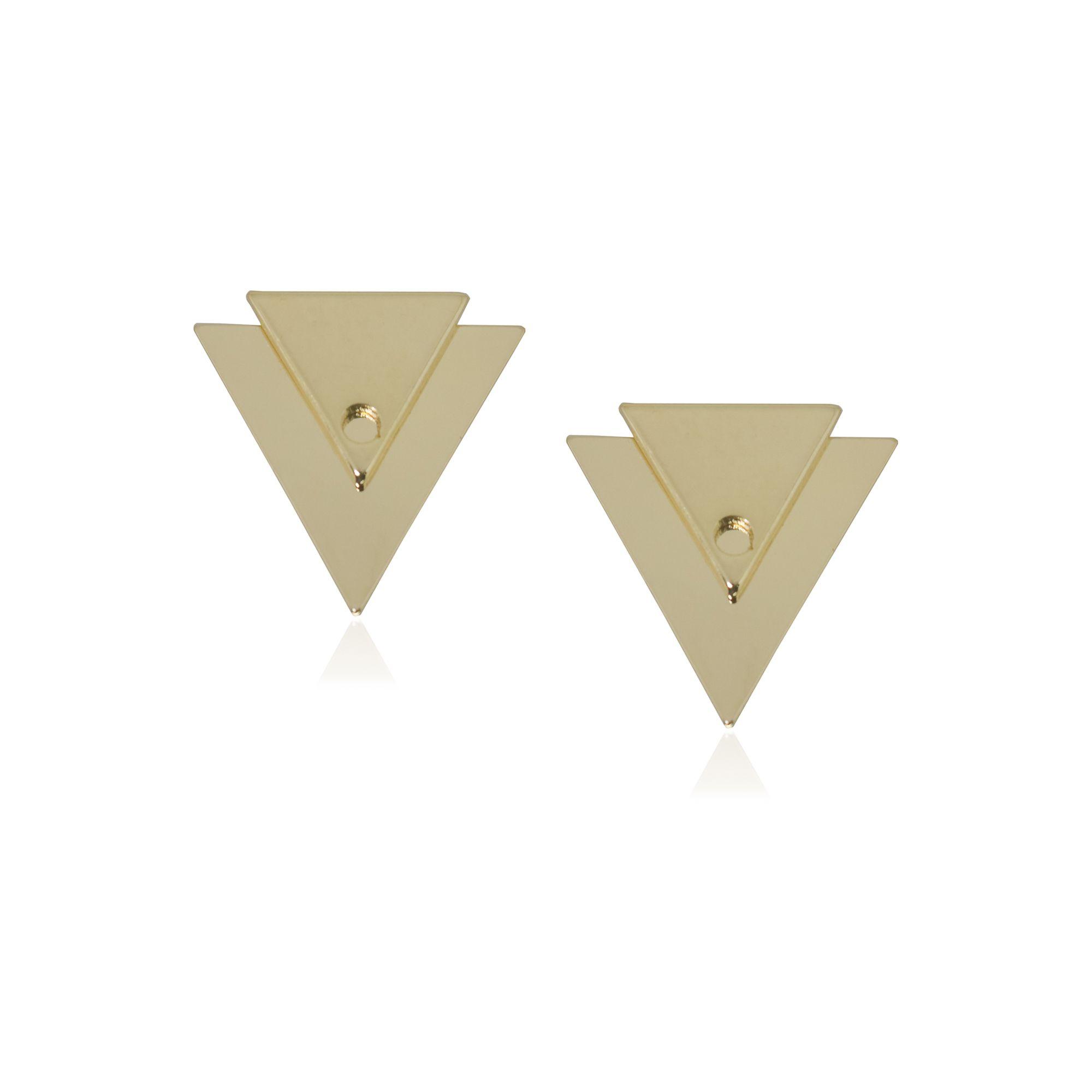 Brinco folheado semijoia geométrico Triângulo duplo