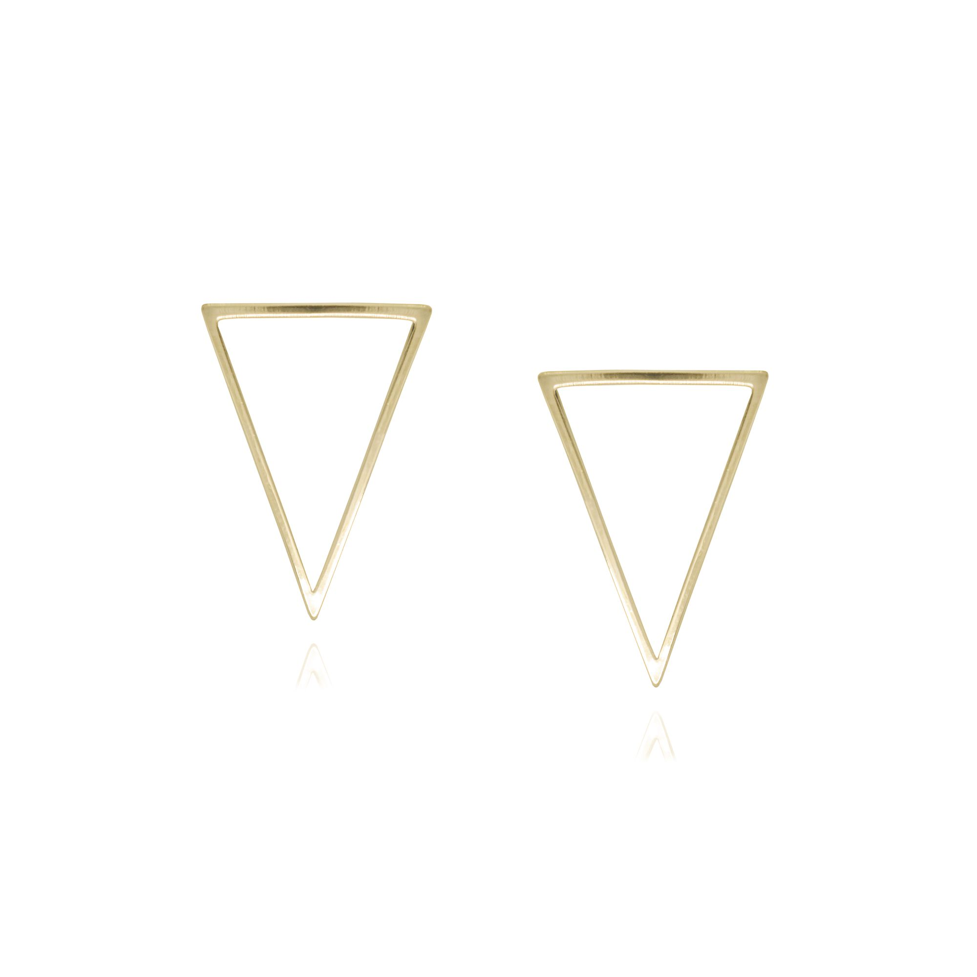 Brinco folheada semijoia Triângulo vazado P estilo minimalista