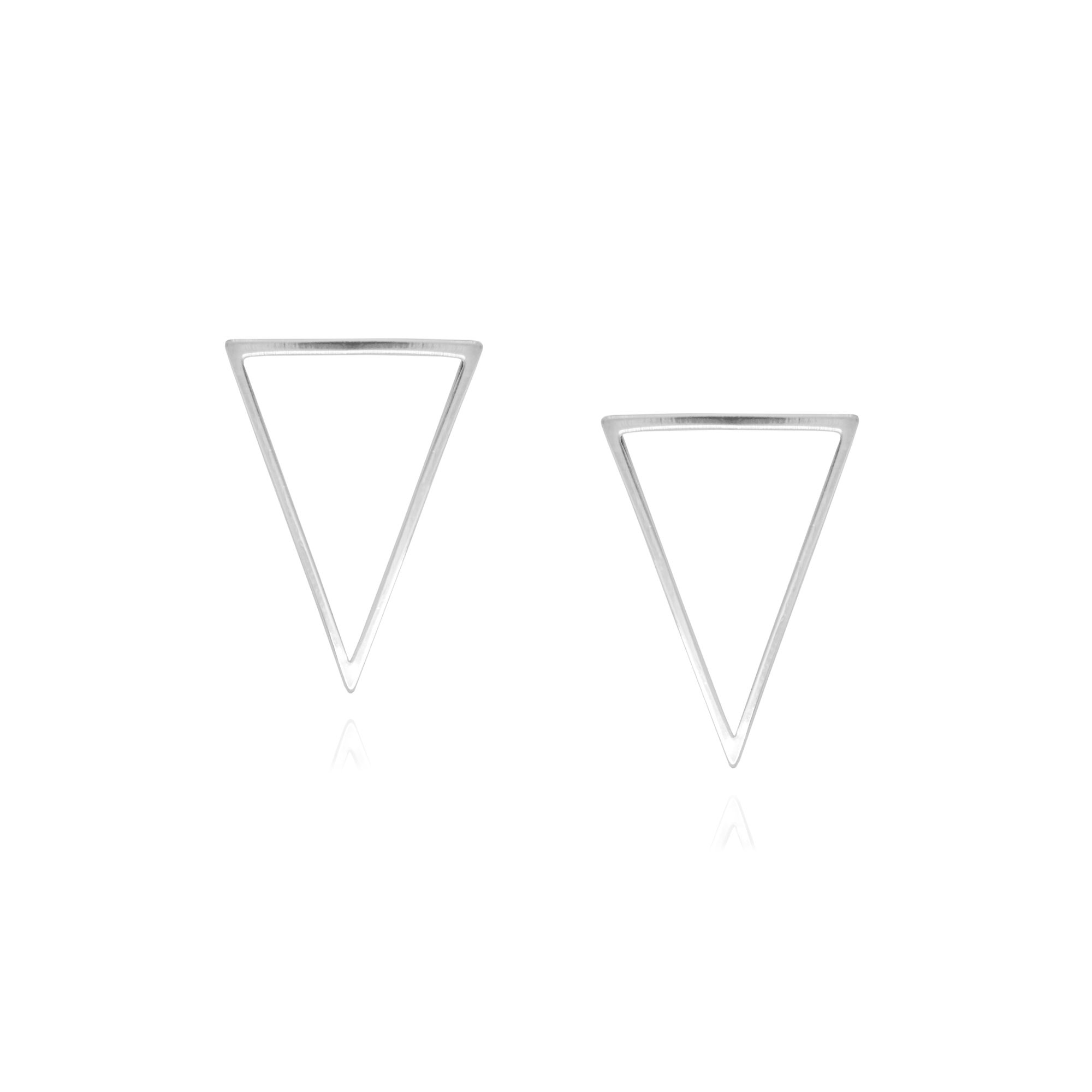 Brinco Semi joia triângulo vazado P estilo minimalista folheado a ouro 18k ou rhodium