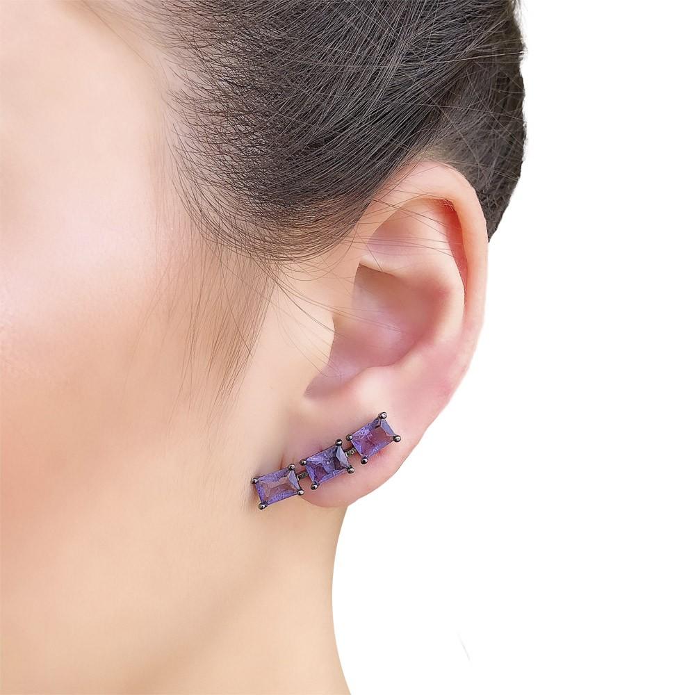 Brinco semijoia Ear cuff em zirconia fusion folheado