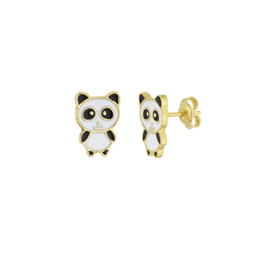 Brinco semijoia folheado a ouro 18k resinado Urso Panda
