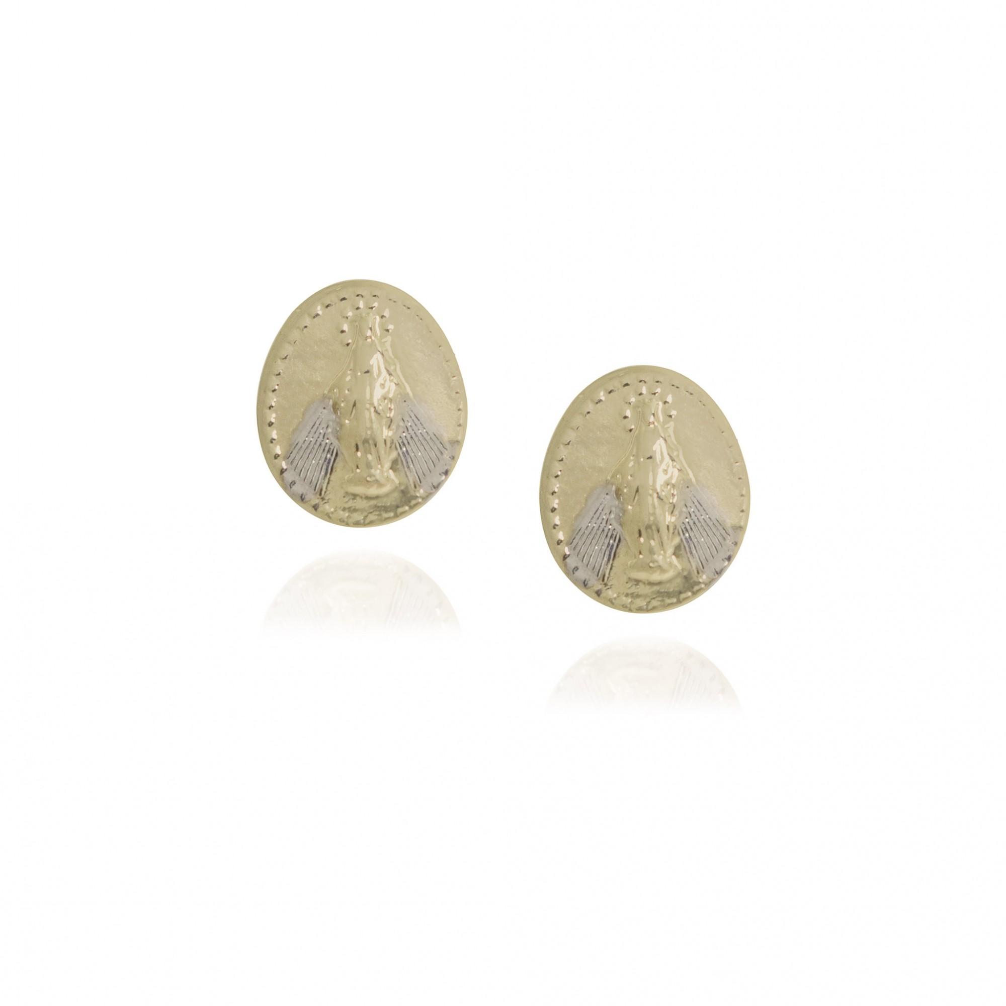 Brinco semijoia medalha Nossa Senhora das Graças folheado a ouro 18k ou ródio