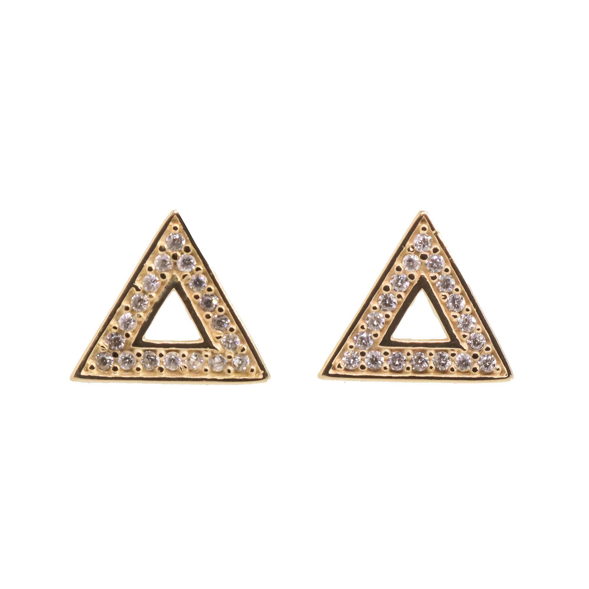 Brinco Semi joia triângulo Mimos folheado a ouro 18k ou rhodium