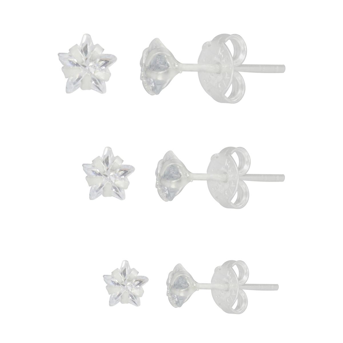 Brinco Trio joia prata 925 maciça com Zircônia em estrela P