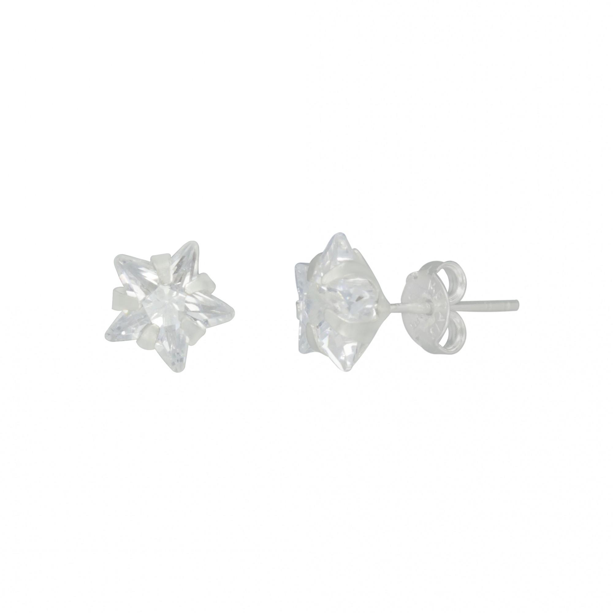 Brinco único/ Trio joia prata 925 maciça Zircônia estrela