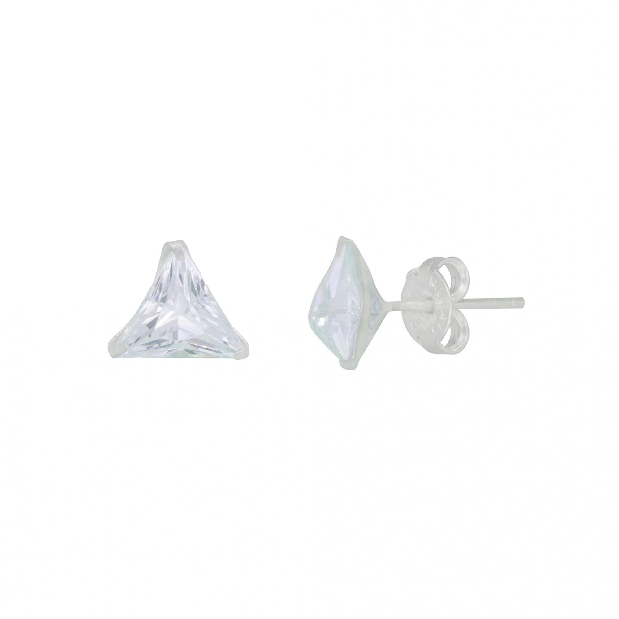 Brinco único ou Trio joia prata 925 pura Zircônia triangulo