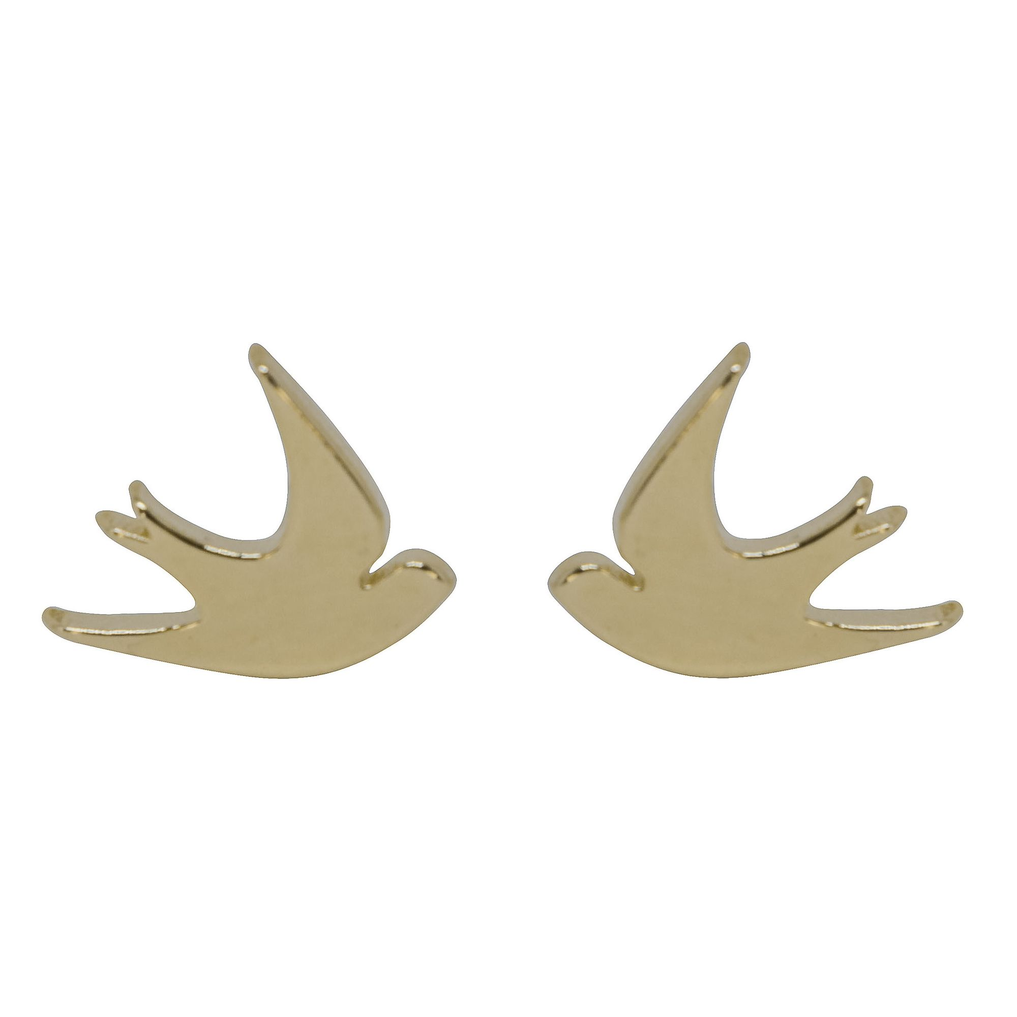 Brinco folheada semijoia minimalista Pássaros Andorinha