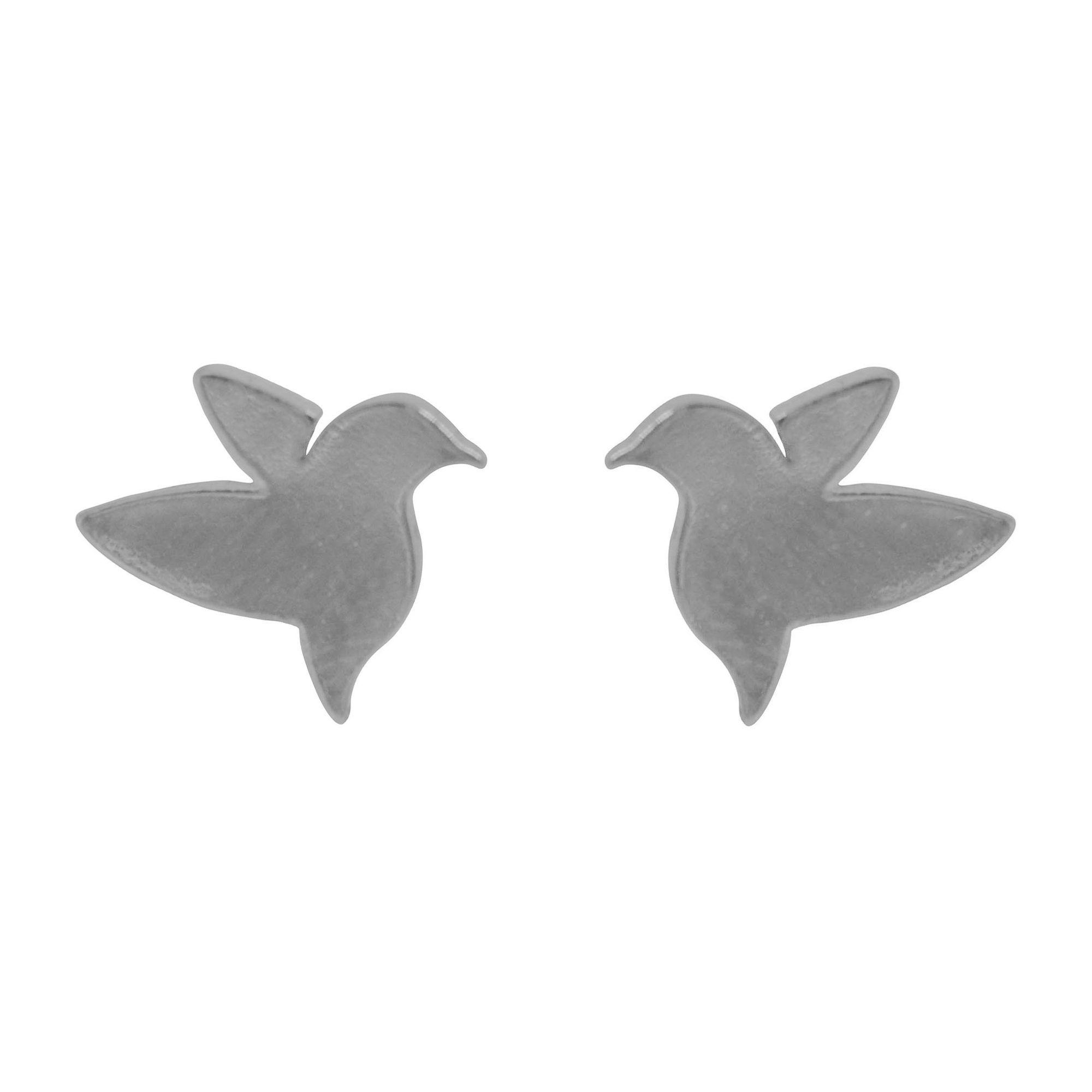 Brinco folheada semijoia minimalista Pássaros Beija Flor