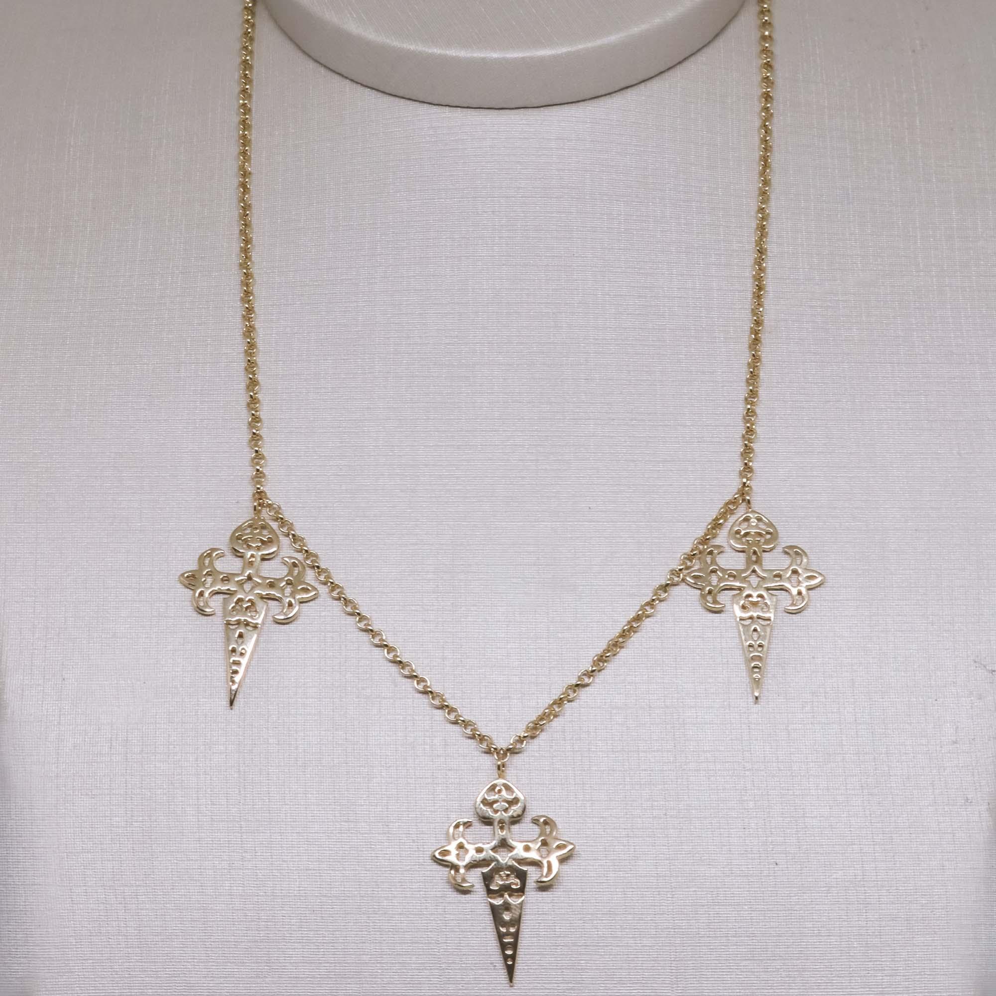 Choker  Semi joia cruz de Santiago de Compostela folheada a ouro 18k ou rhodium