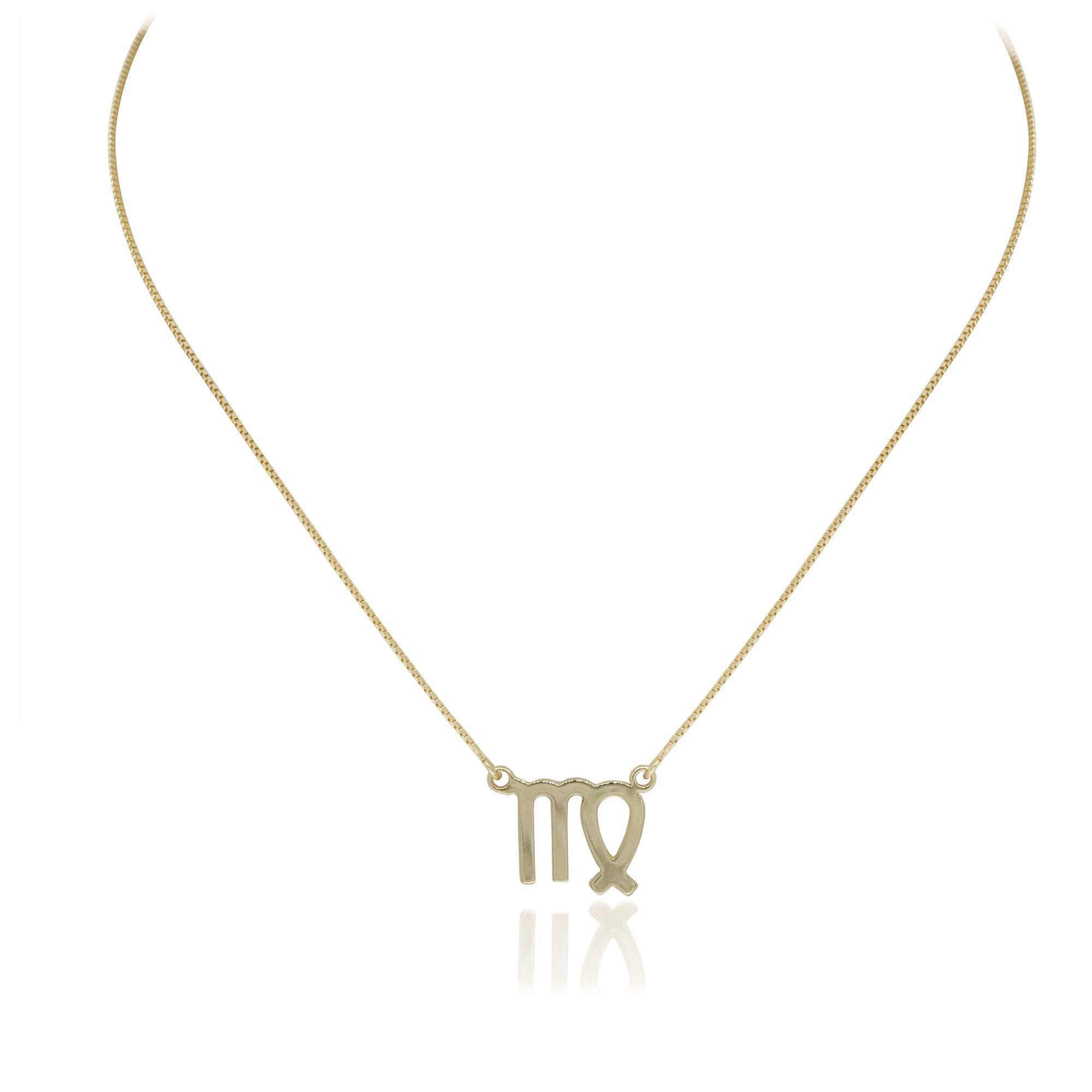 Colar Corrente Semi joia banhada a ouro 18k com pingente do  seu signo Tamanho  P
