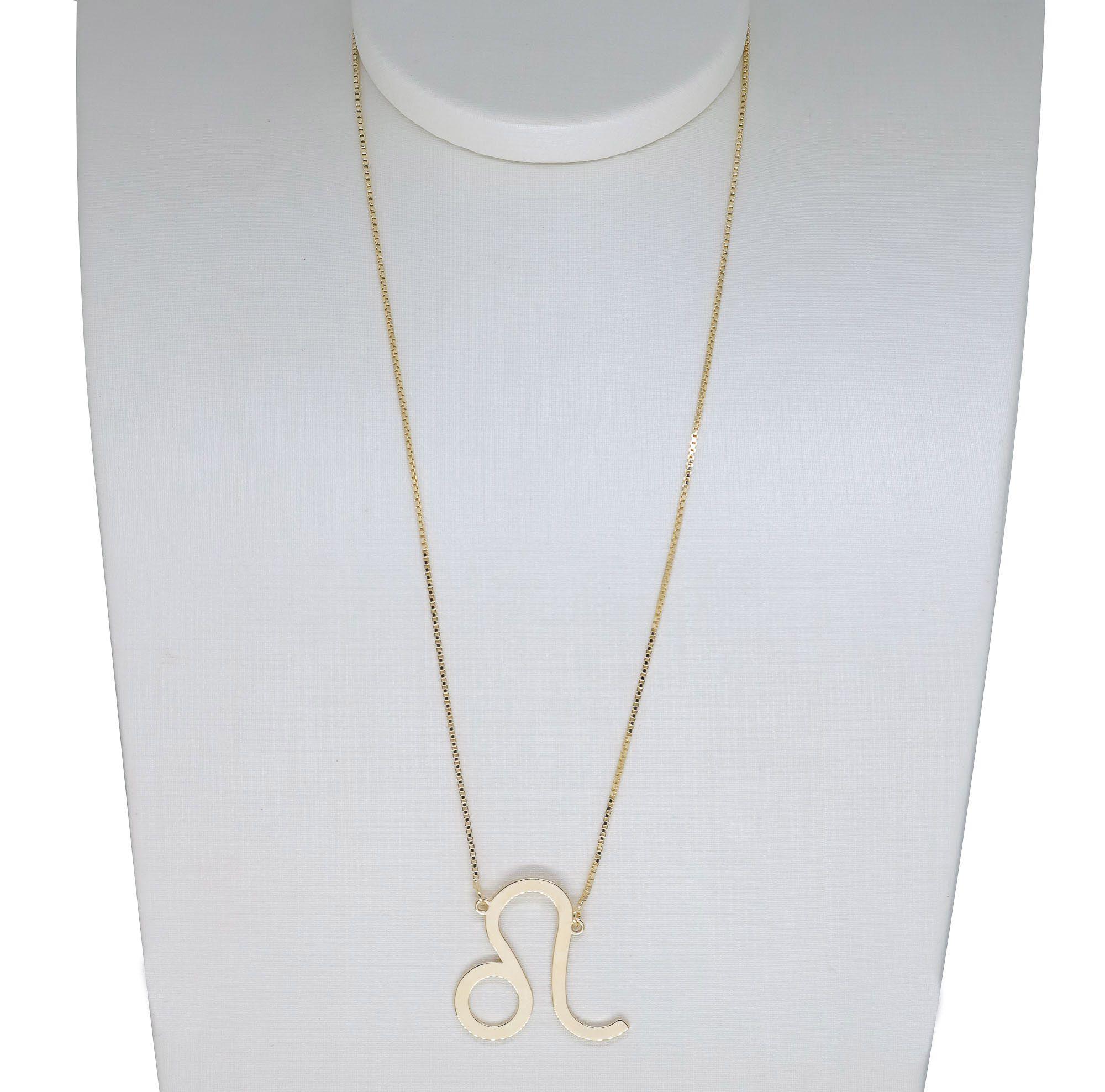 Colar Corrente Semi joia banhada a ouro 18k com pingente do seu signos  Tamanho G
