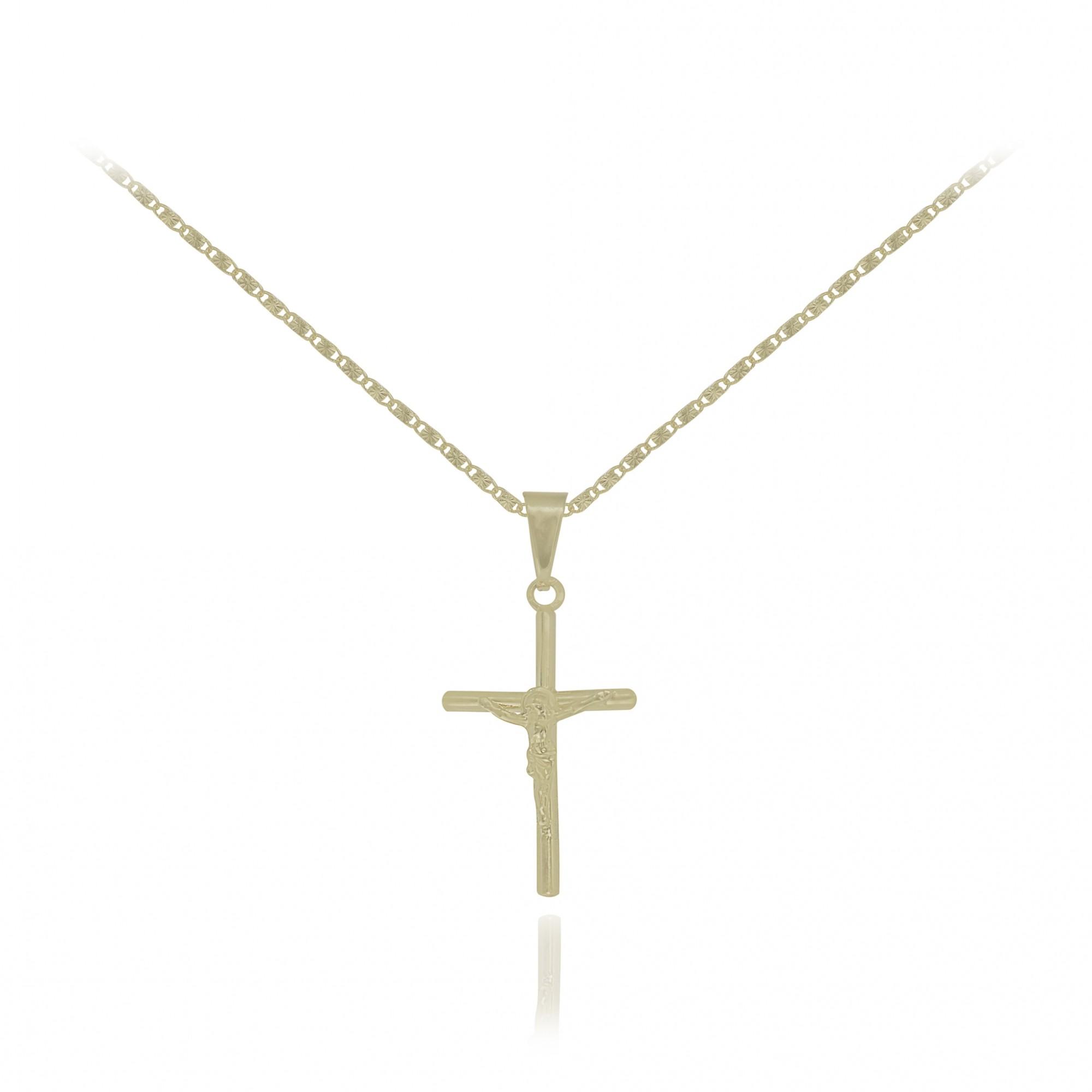 Colar Cruz com Cristo semijoia folheada a ouro 18k ou ródio