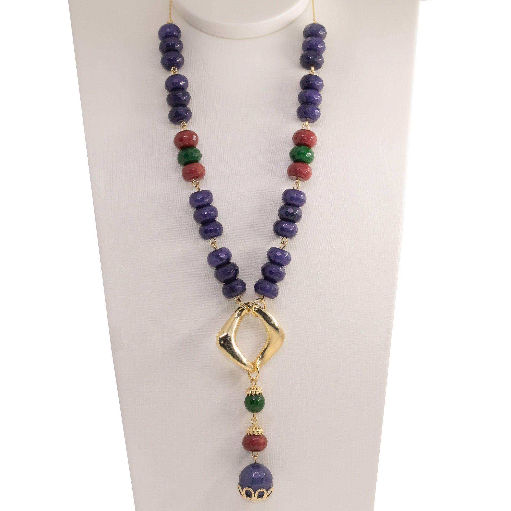 Colar Semi joia Elo torto em pedra natural  Jade folheado a ouro 18k ou rhodium
