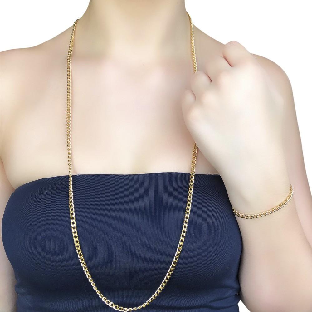 Colar folheado a ouro ou prata e verniz Malha Groumet grossa
