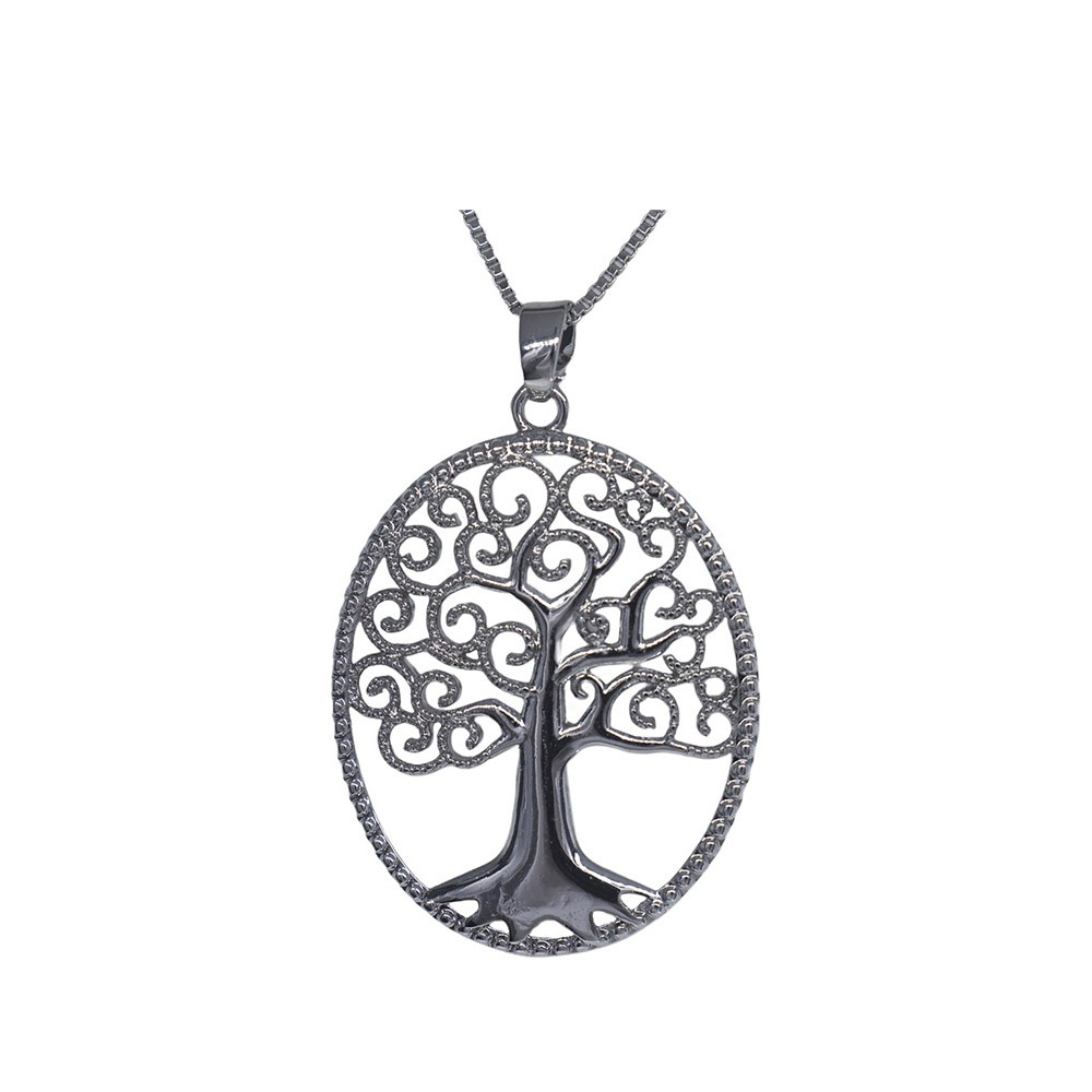 Colar folheado semijoia Árvore da Vida Oval