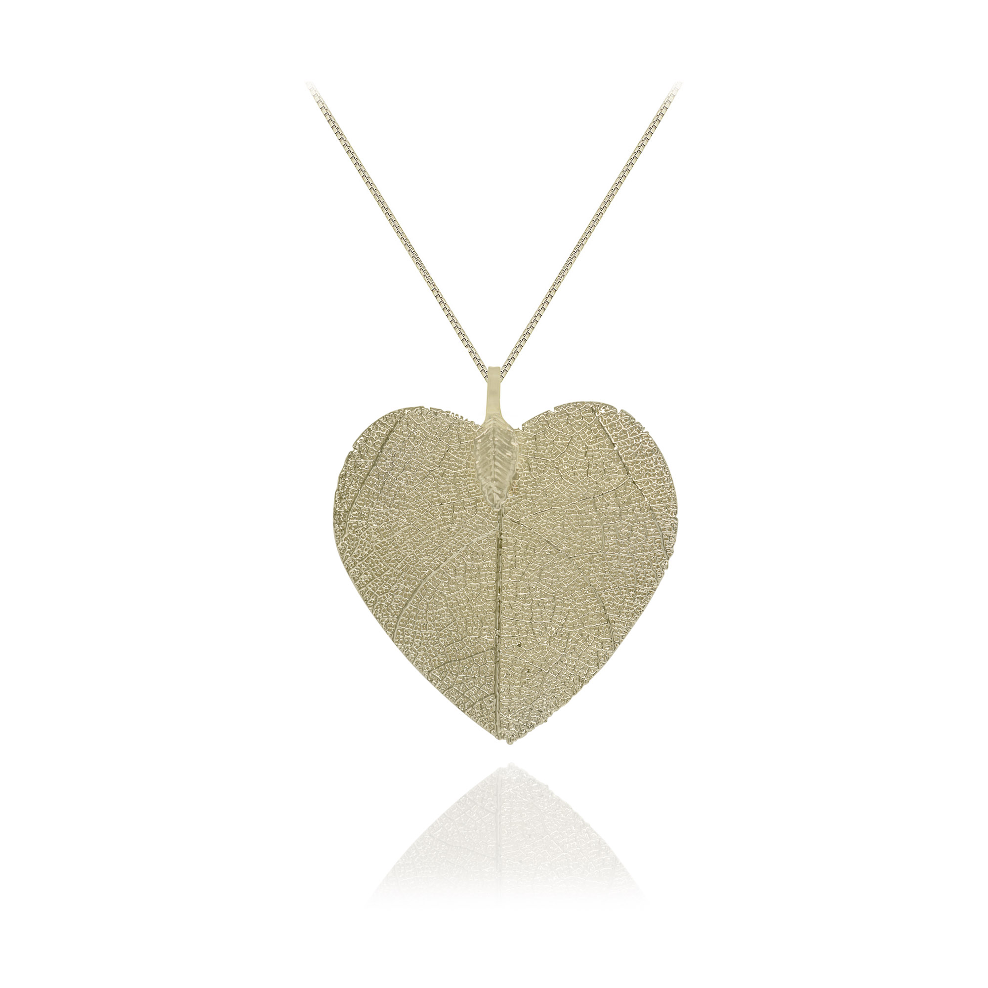 Colar folheado semijoia de Folha formato de coração