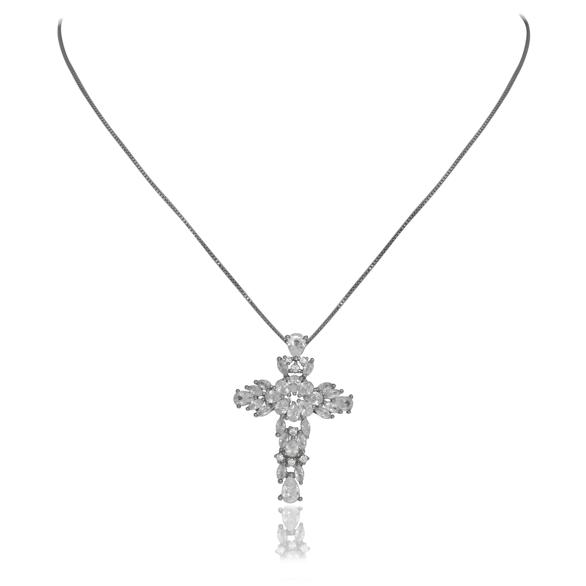 Colar Gargantilha Semi joia crucifixo em Zircônia banhado a ouro 18k ou rhodium