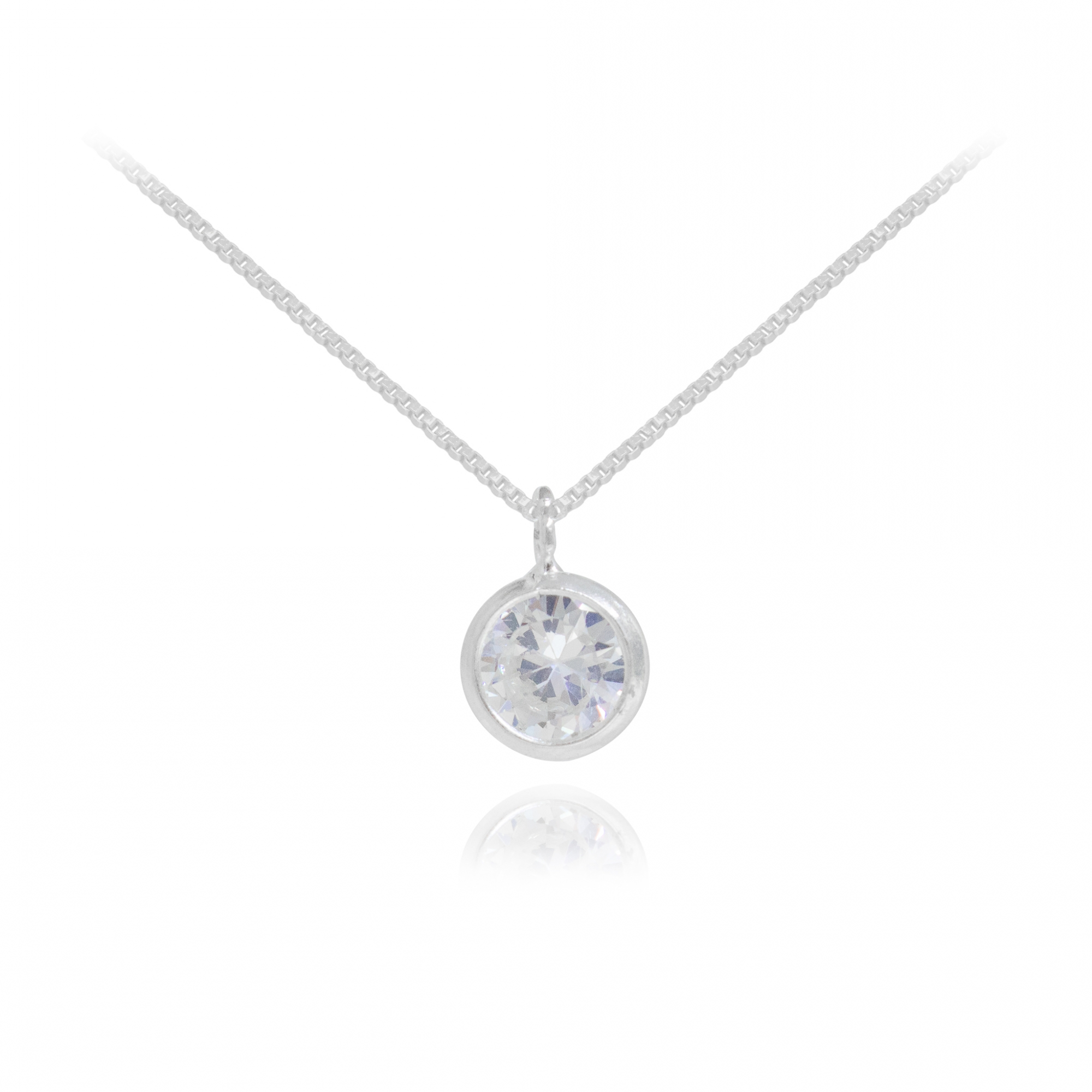 Colar joia em prata 925 maciça com ponto de luz de zircônia