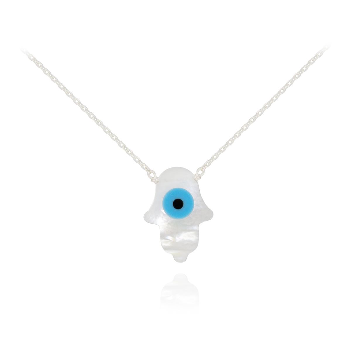 Colar joia prata 925 madrepérola Olho grego e Mão de Fátima