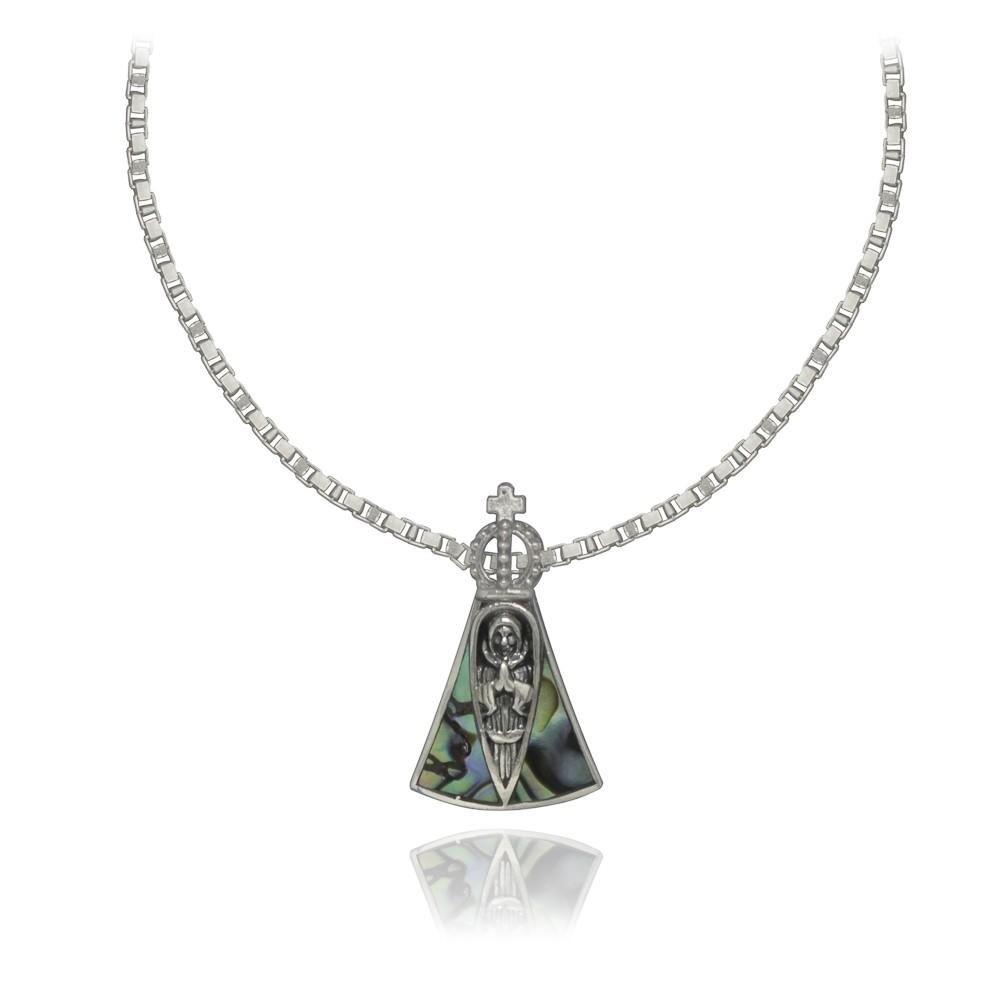 Colar joia prata 925 pura e abalone Nossa Senhora Aparecida