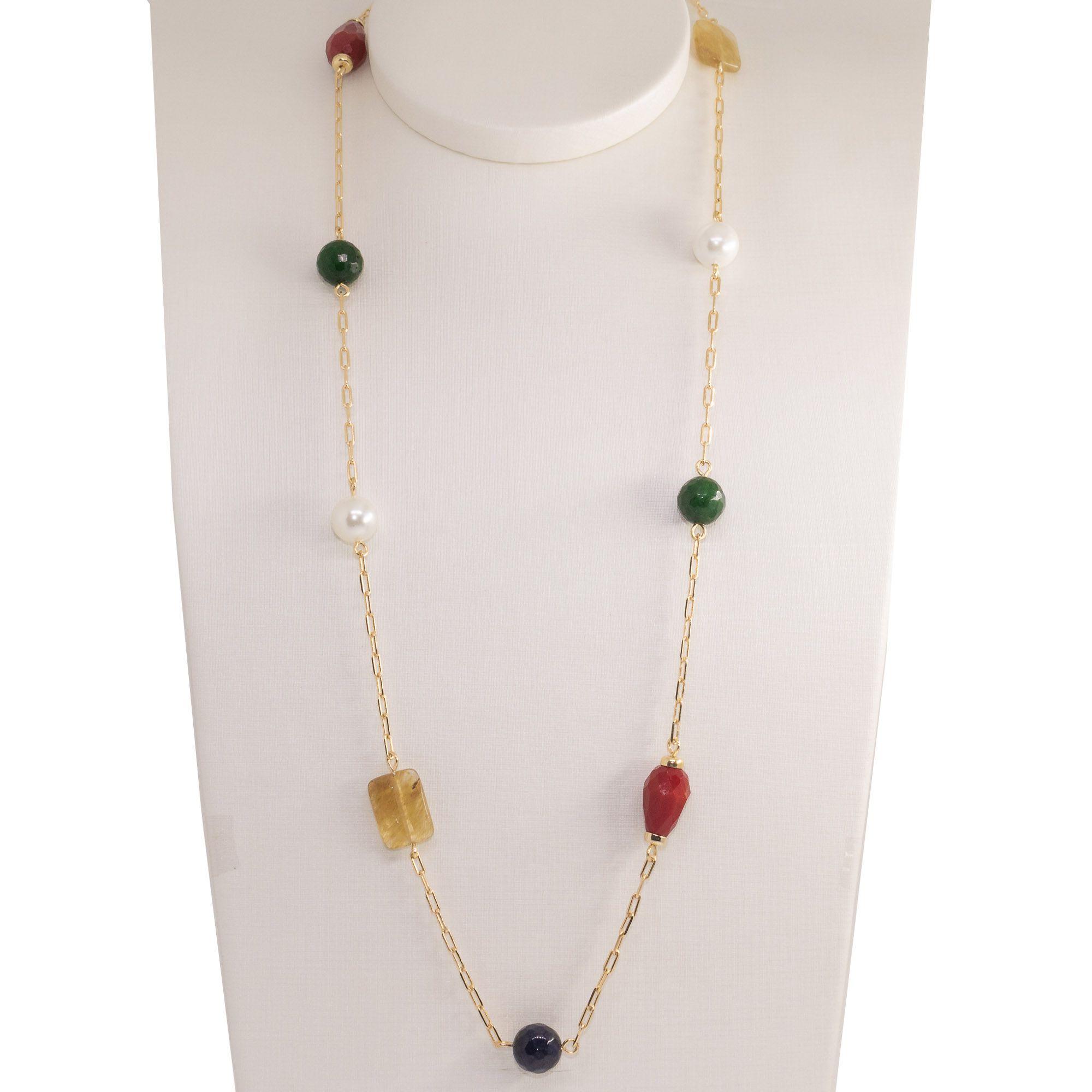 colar semi joia  longo com pedras naturais  Pastilhas banhado a ouro 18k ou rhodium