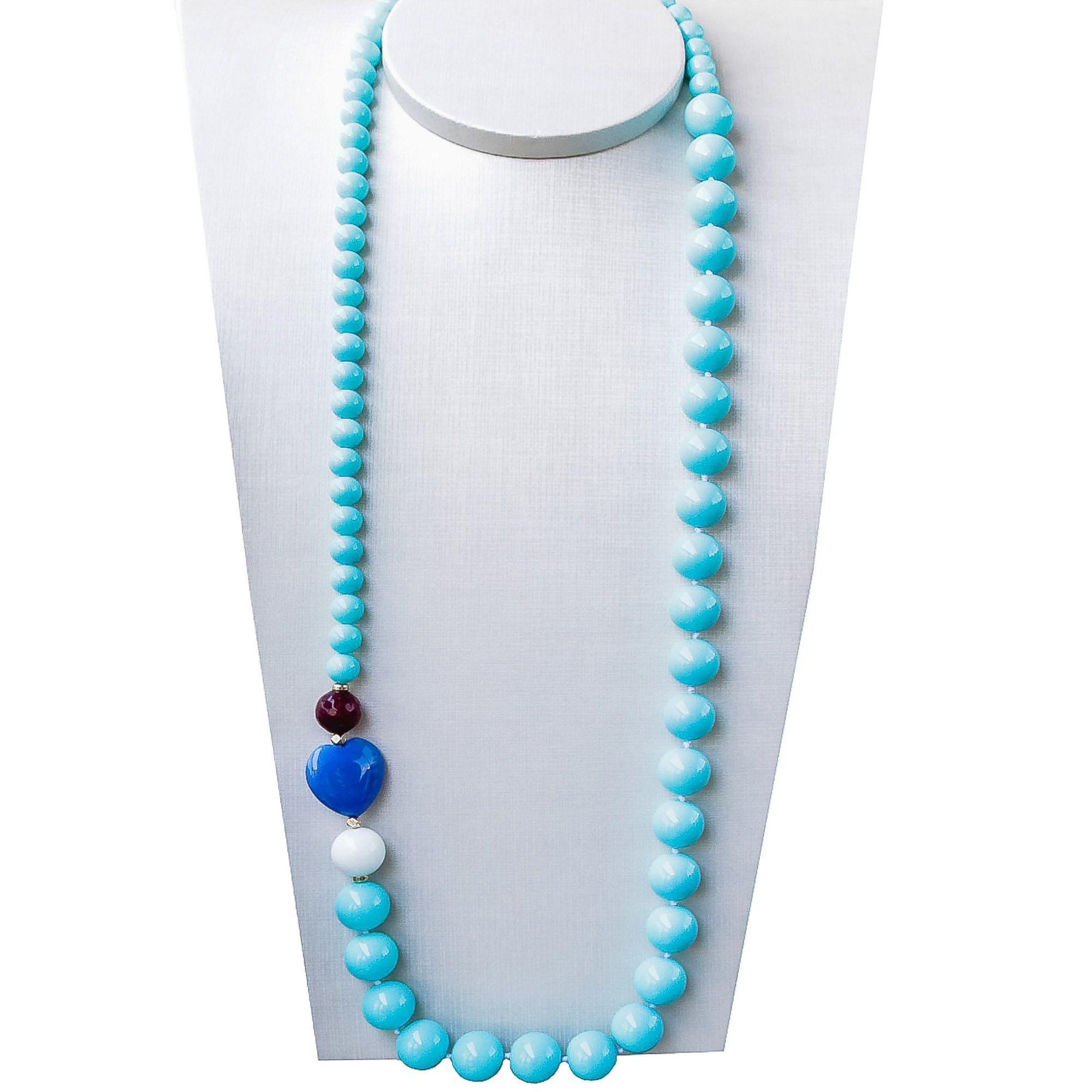 Colar Semi joia longo Rondel com coração em Jade banhados a ouro 18k ou rhodium