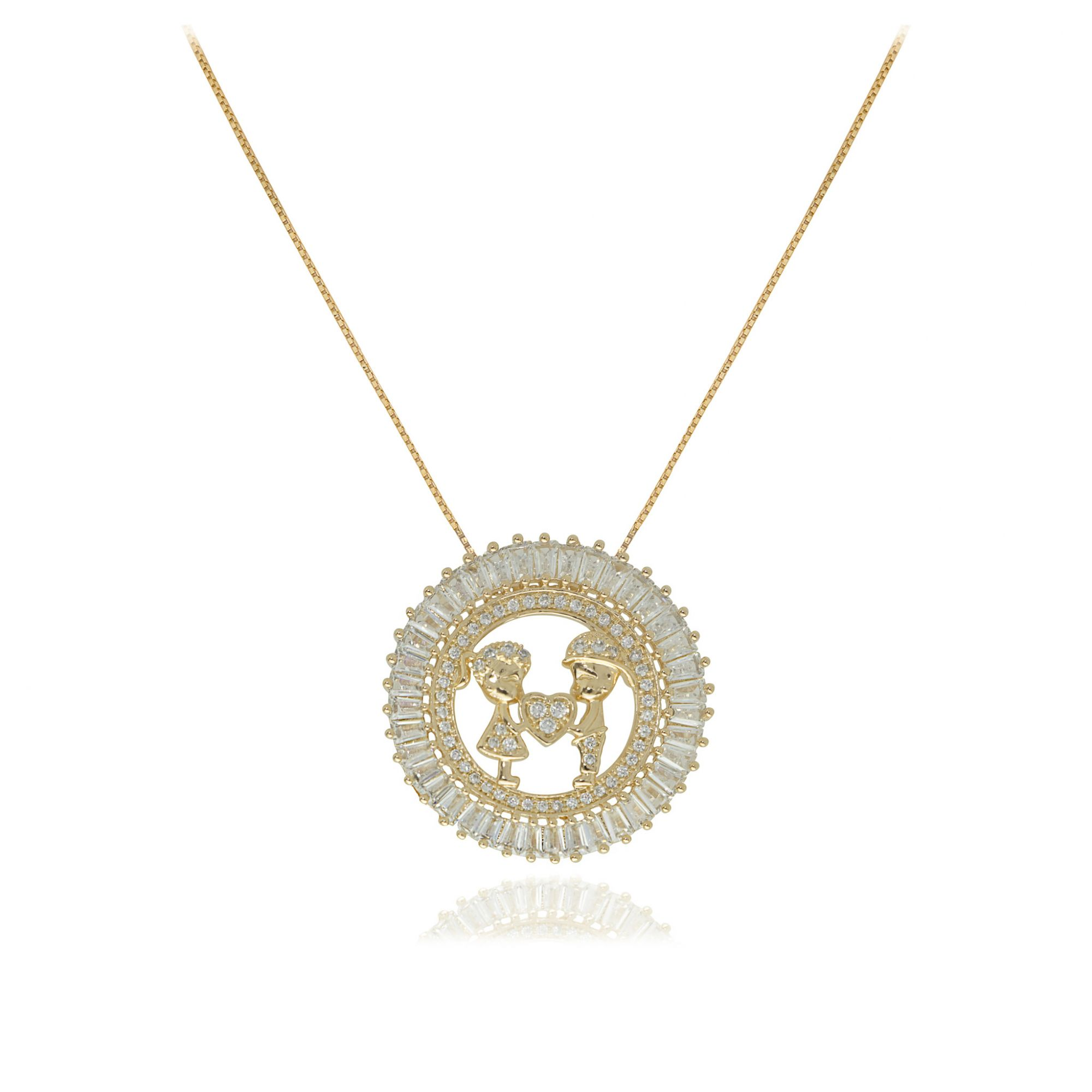 Gargantilha mandala filhos com coração semijoia baguettado em zircônia folheada a ouro 18k ou rhodium