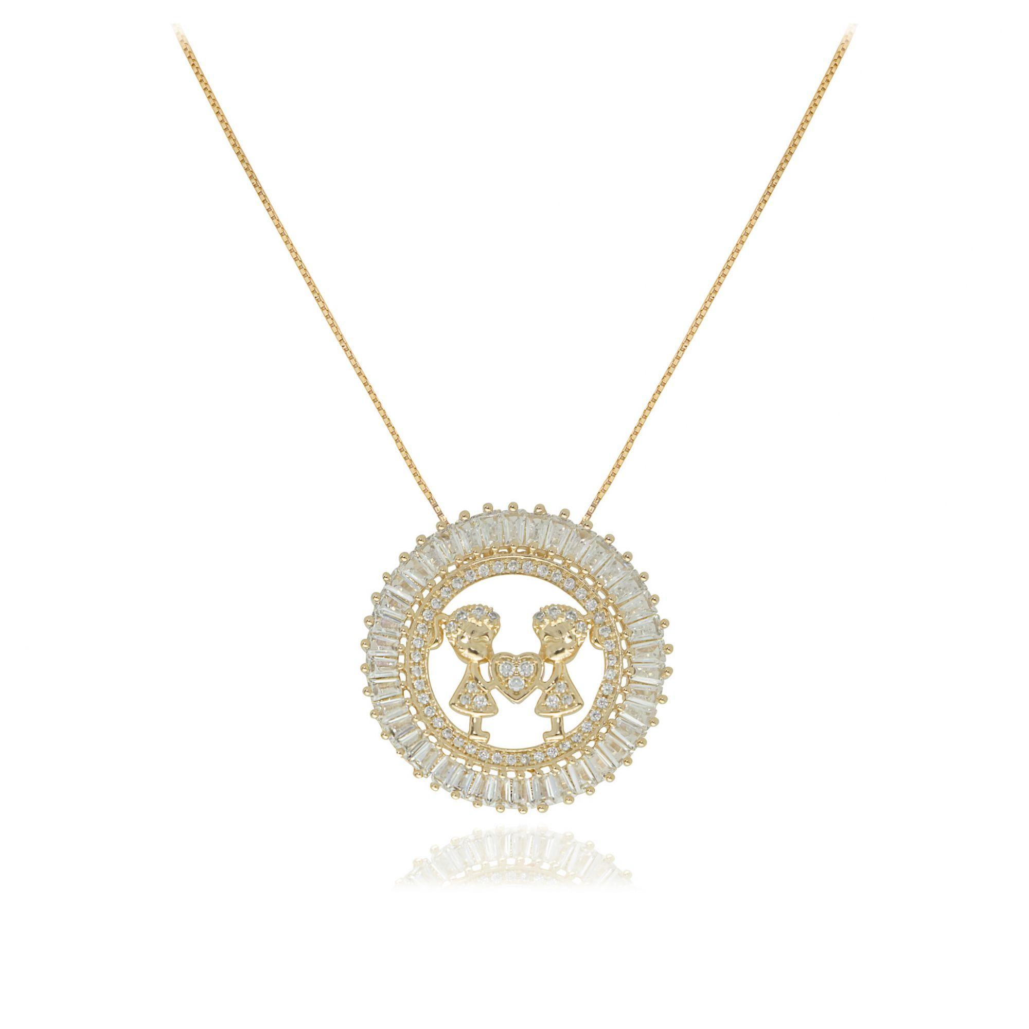 Colar mandala filhos com coração Semi joia baguettado em zircônia folheado a ouro  18k ou rhodium
