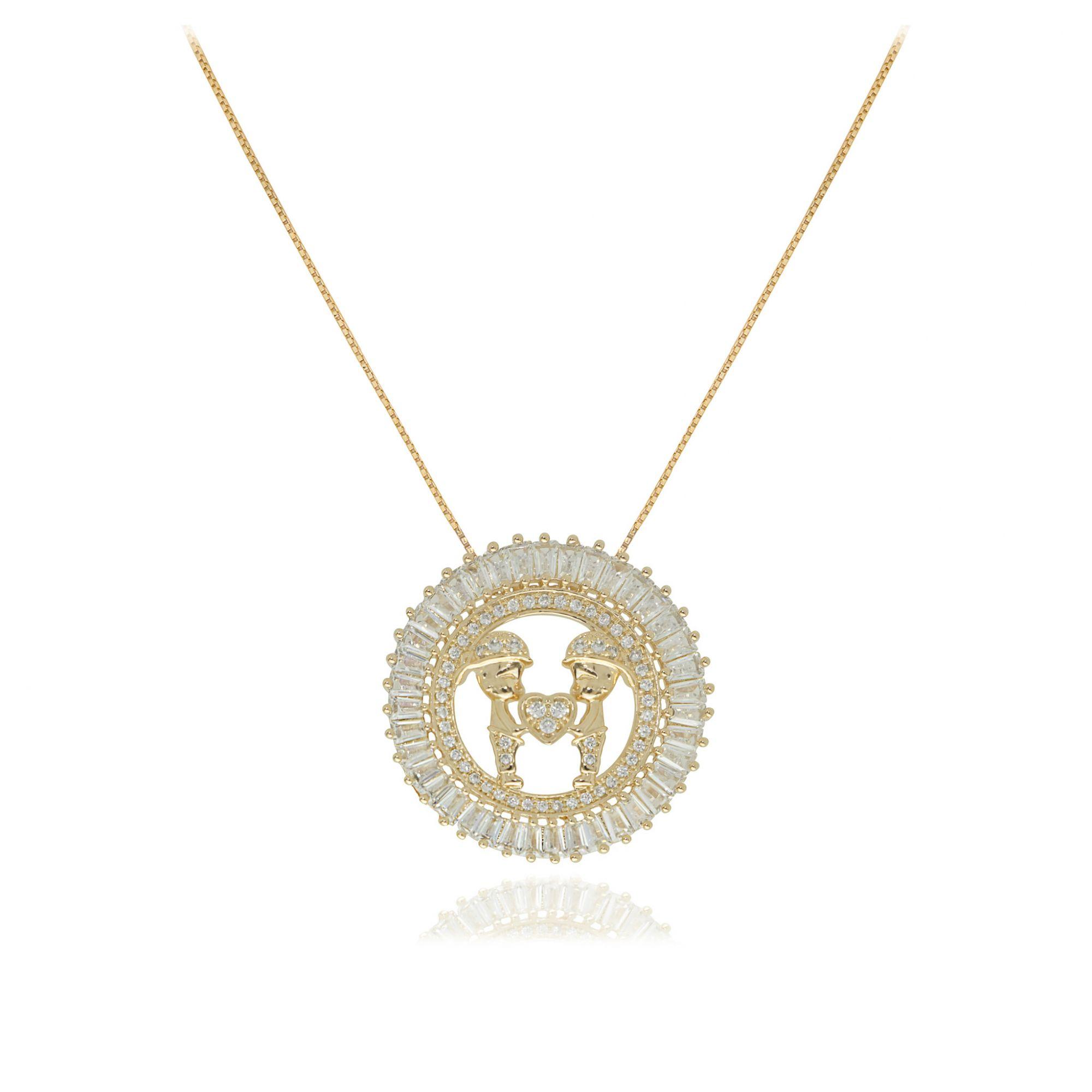 Colar mandala filhos com coração Semi joia baguettado em zircônia banhada a ouro  18k ou rhodium
