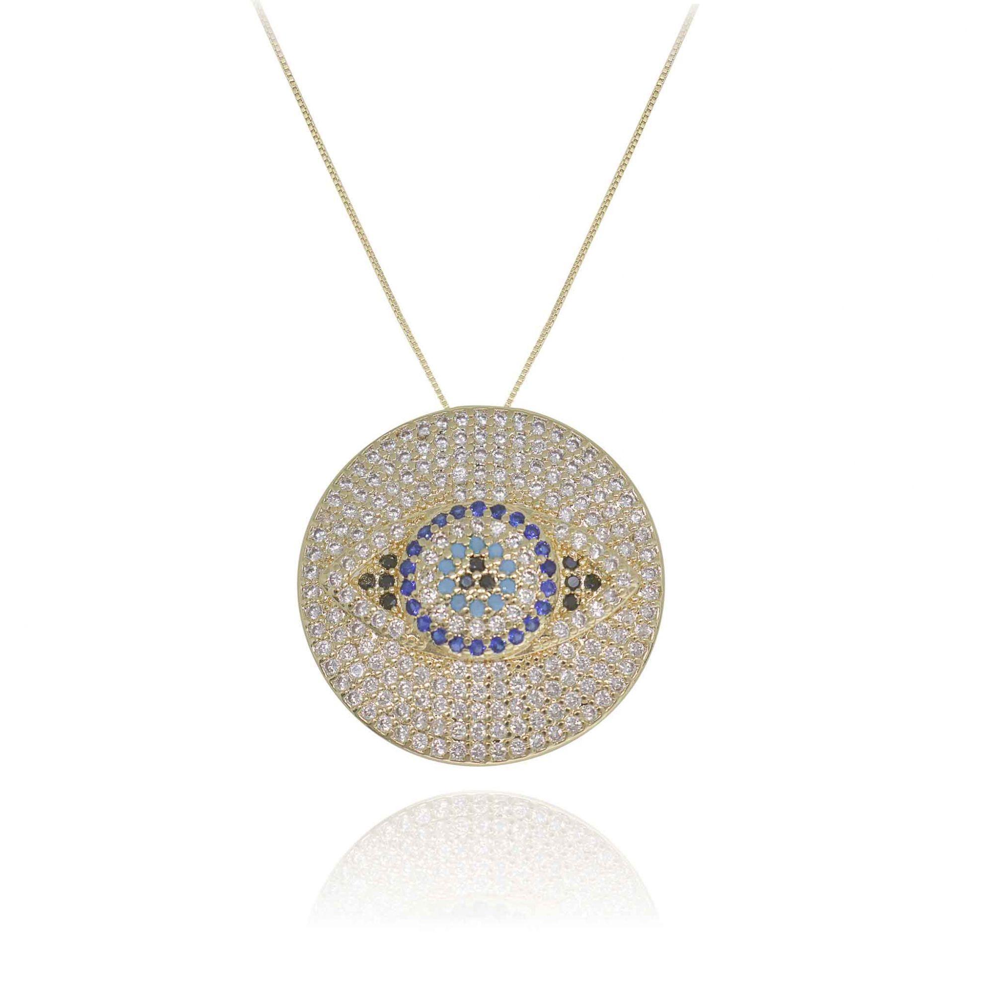 Colar Mandala semijoia cravejado em zirconias e Olho Grego
