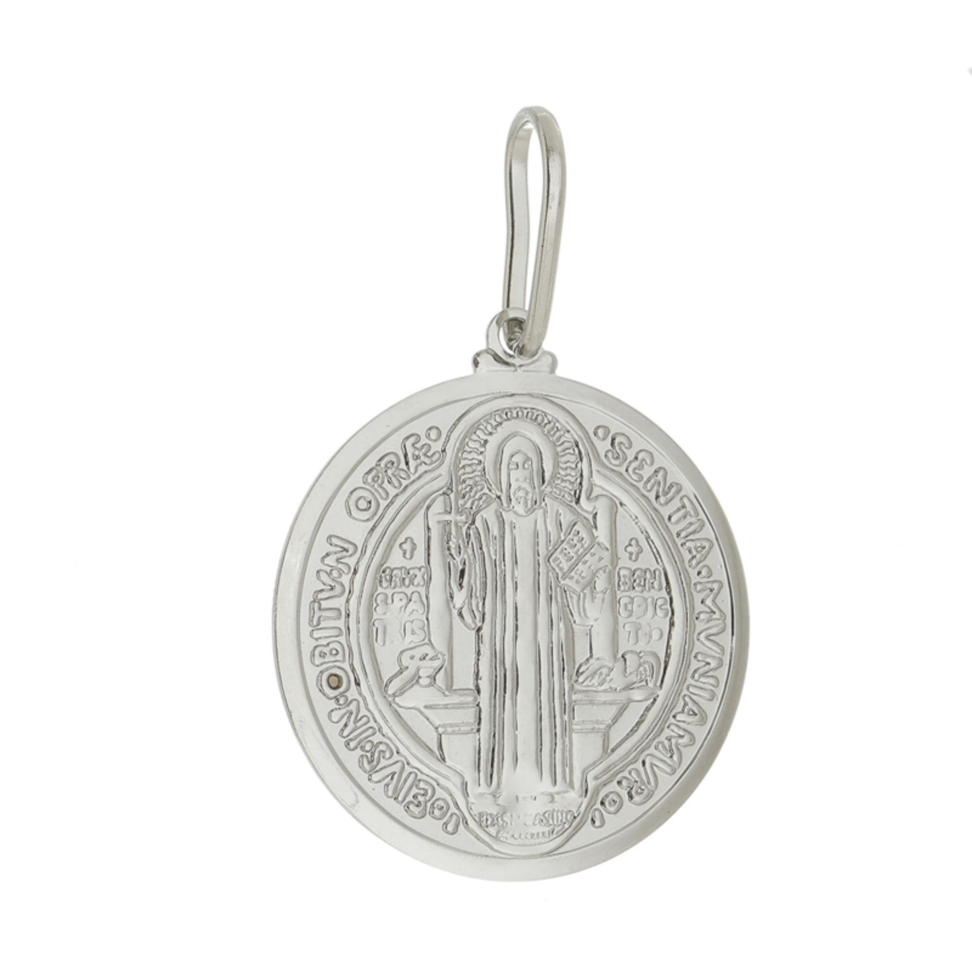 Colar medalha de São Bento folheado a ouro 18k ou rhodium