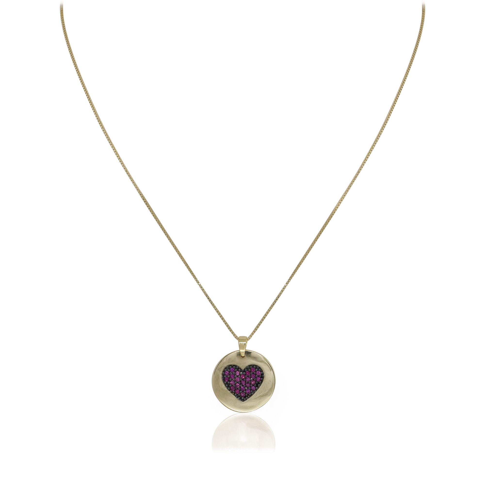 Colar Semi joia banhado a ouro 18k ou rhodium Mandalinha coração cravejado em micro zircônia