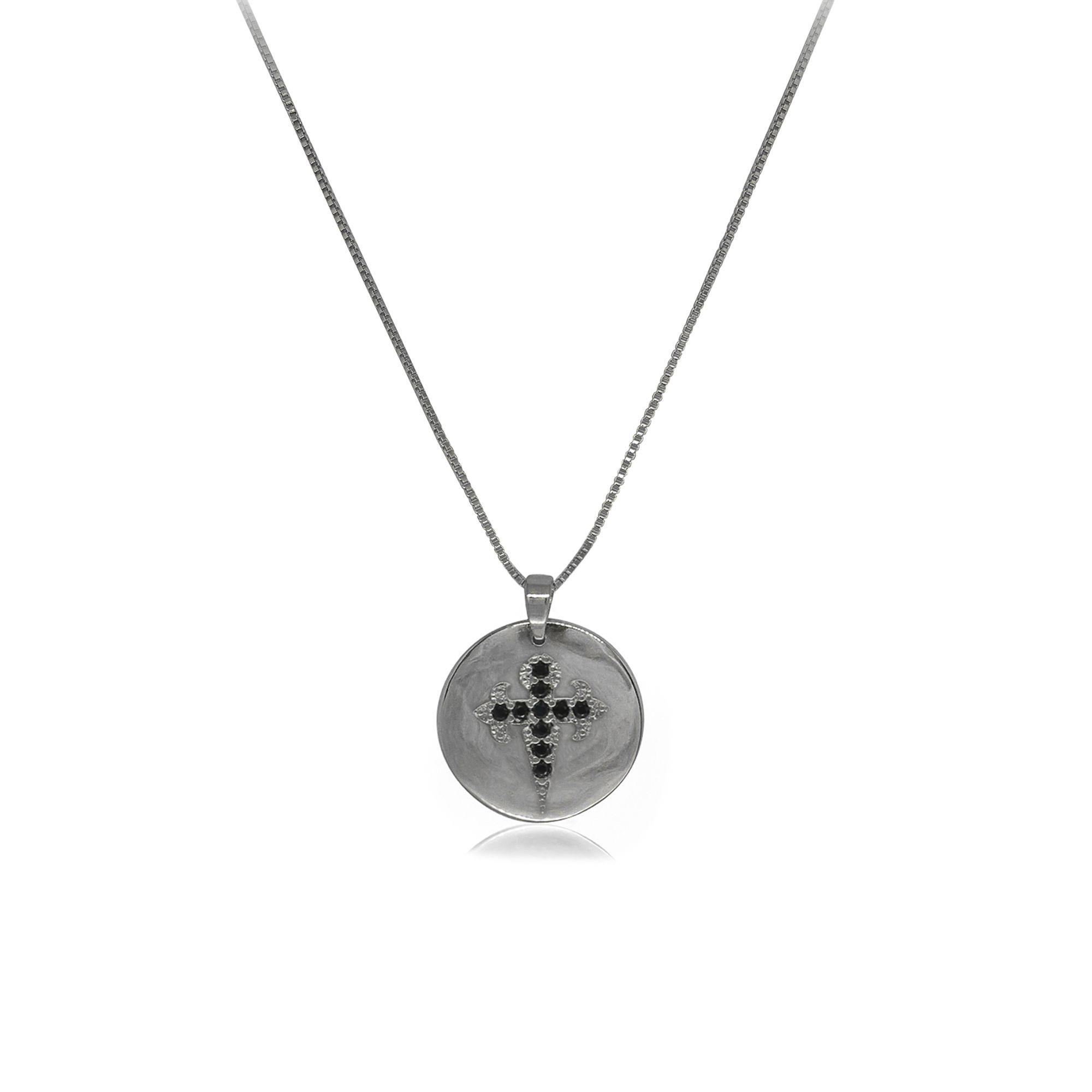 Colar Semi joia banhado a ouro 18k ou rhodium Mandalinha Cruz de Santiago cravejado em micro zircônia