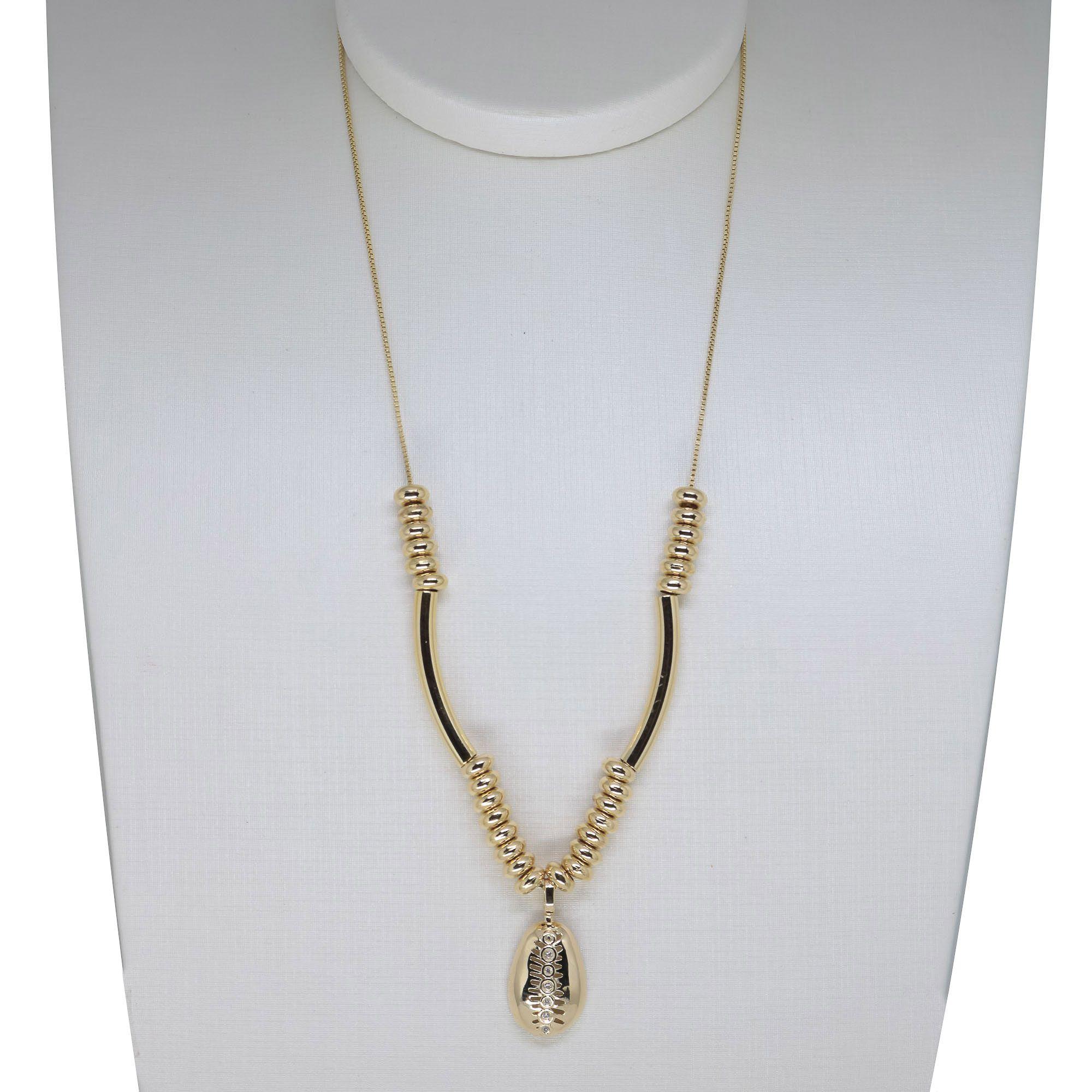 Colar Semi joia Búzio com zircônia banhado a ouro 18k ou rhodium