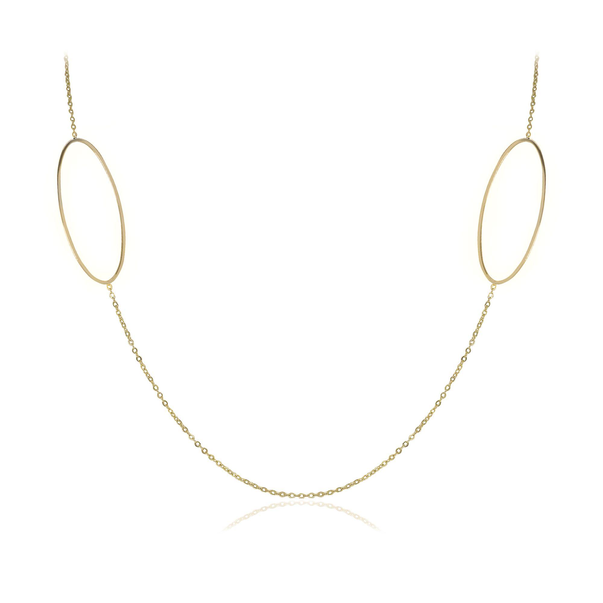 Colar Semi joia com detalhe  duplo oval vazado banhado a ouro  18k ou rhodium em estilo minimalista