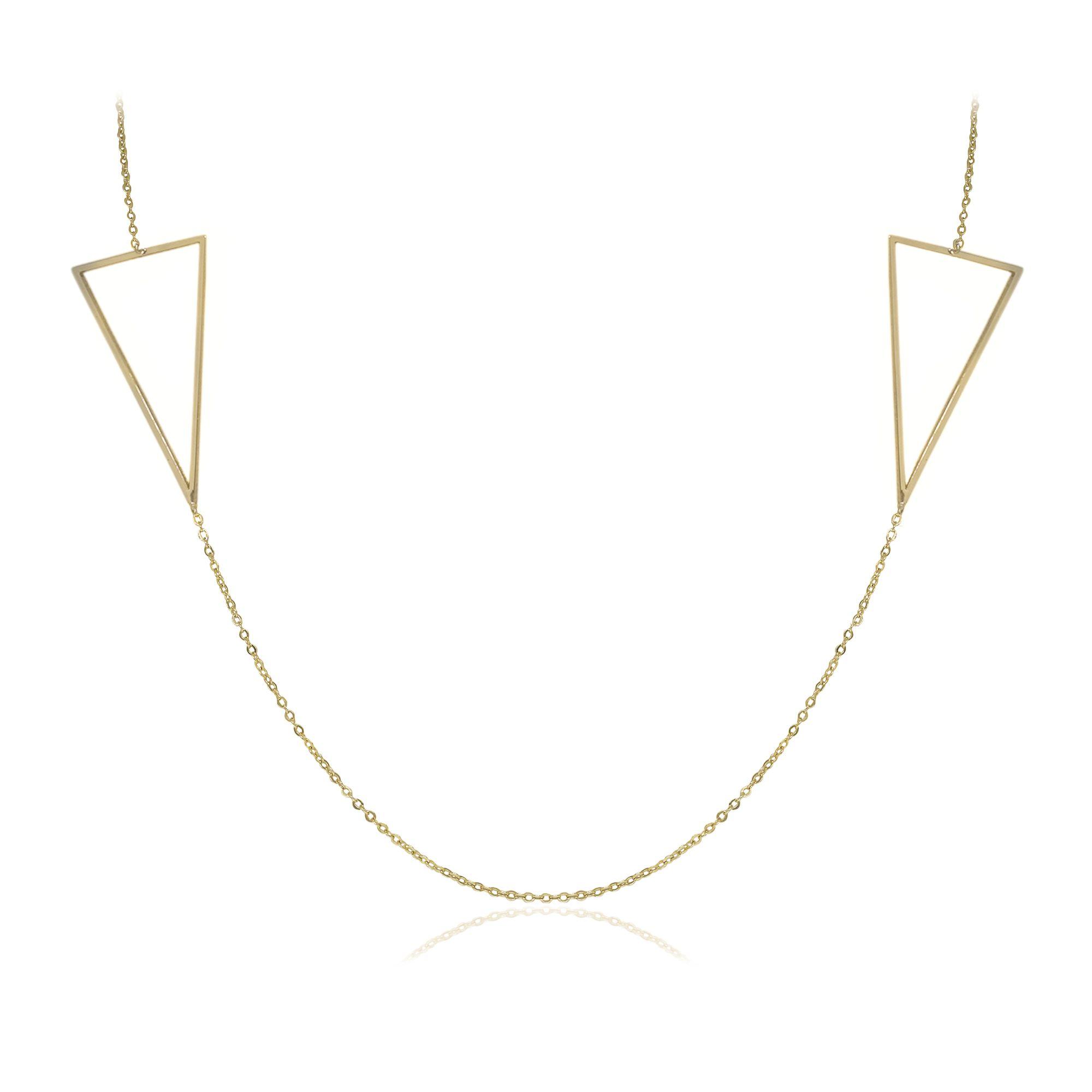 Colar Semi joia com detalhe  duplo triângulo vazado banhado a ouro  18k ou rhodium em estilo minimalista