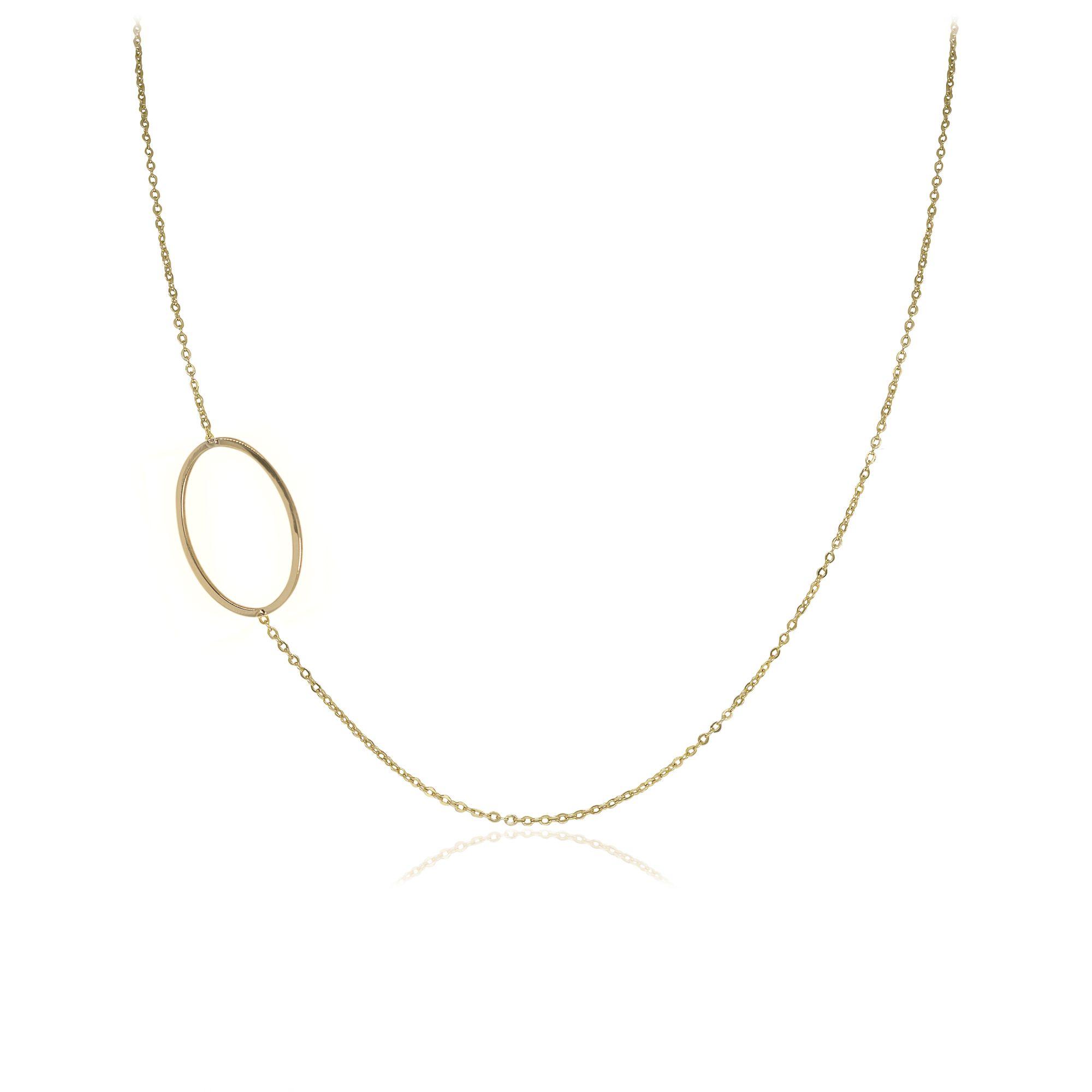 Colar semijoia com detalhe Oval vazado folheado a ouro 18k ou rhodium em estilo minimalista