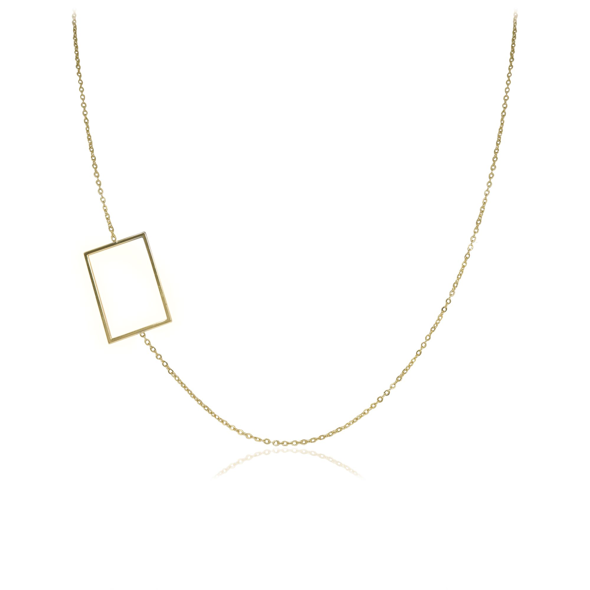 Colar Semi joia com detalhe  retângulo vazado banhado a ouro  18k ou rhodium em estilo minimalista
