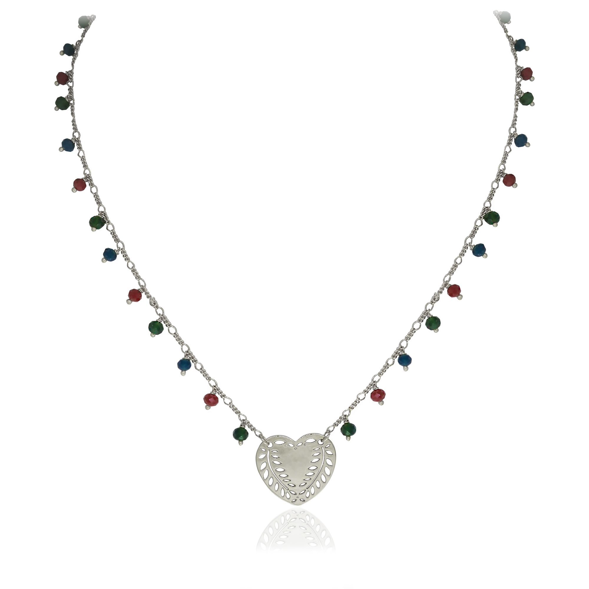 Colar Semi joia Coração vazado com cristais na corrente folheado a ouro 18k ou rhodium