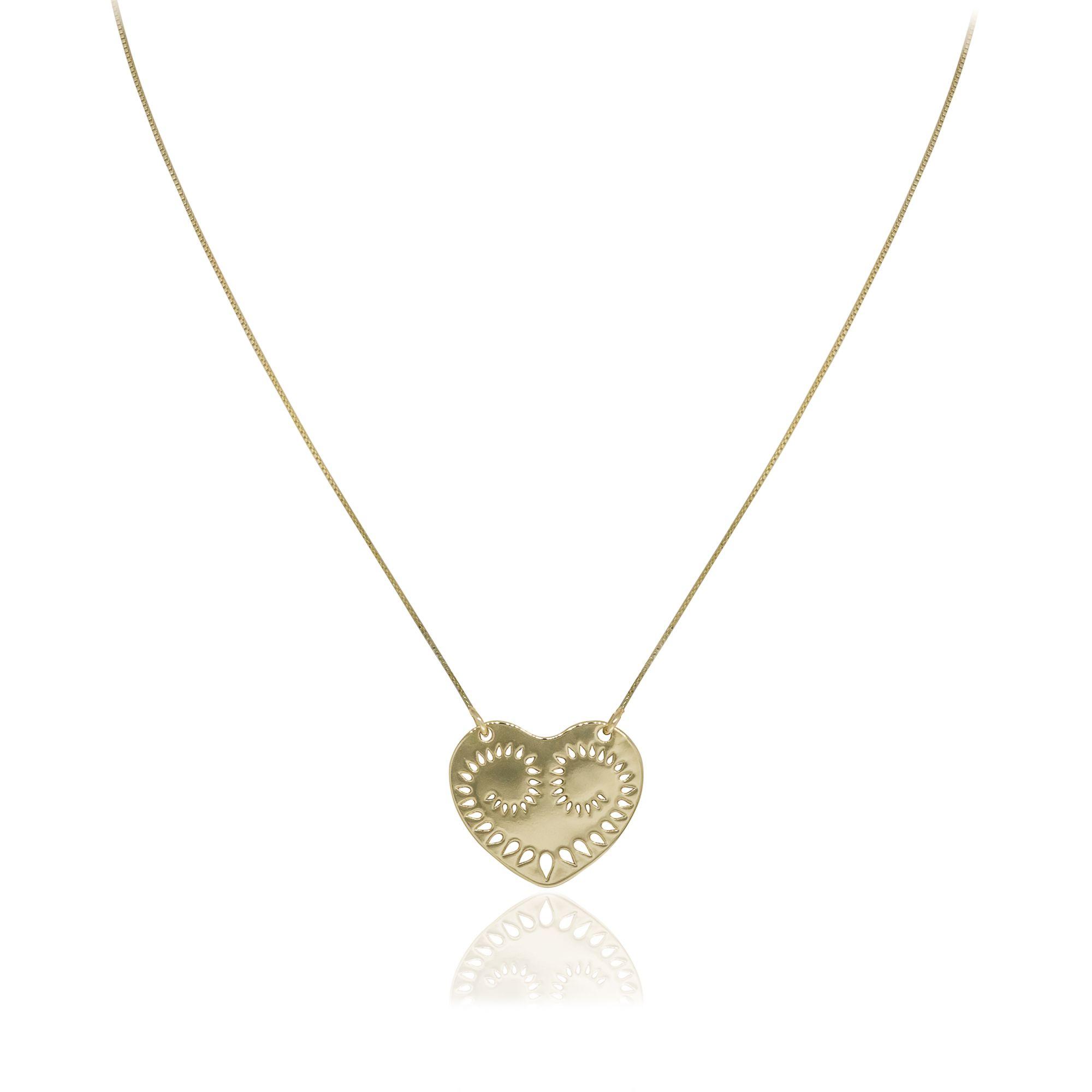 Colar Semi joia Coração vazado pequeno banhado a ouro 18k ou rhodium