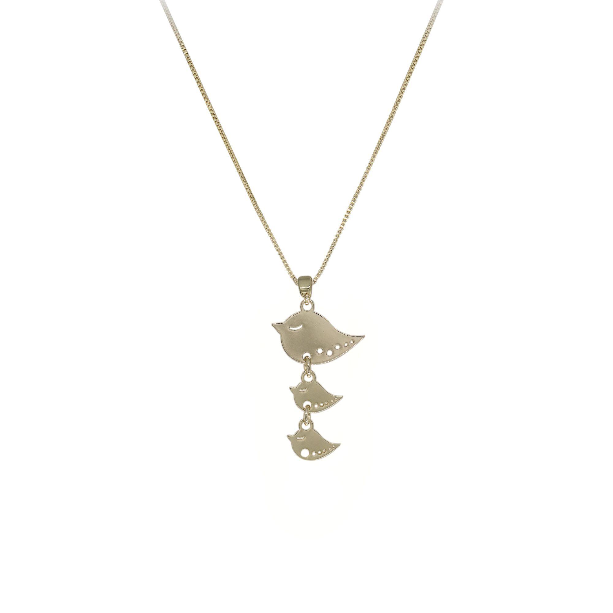 Gargantilha semijoia minimalista folheada Mãe Pássaro