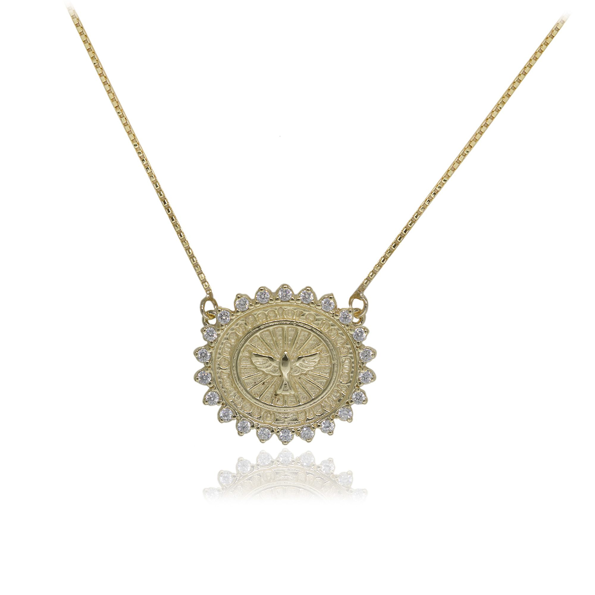 Colar Semi joia Mandala Espirito Santo folheado a ouro  18k ou rhodium