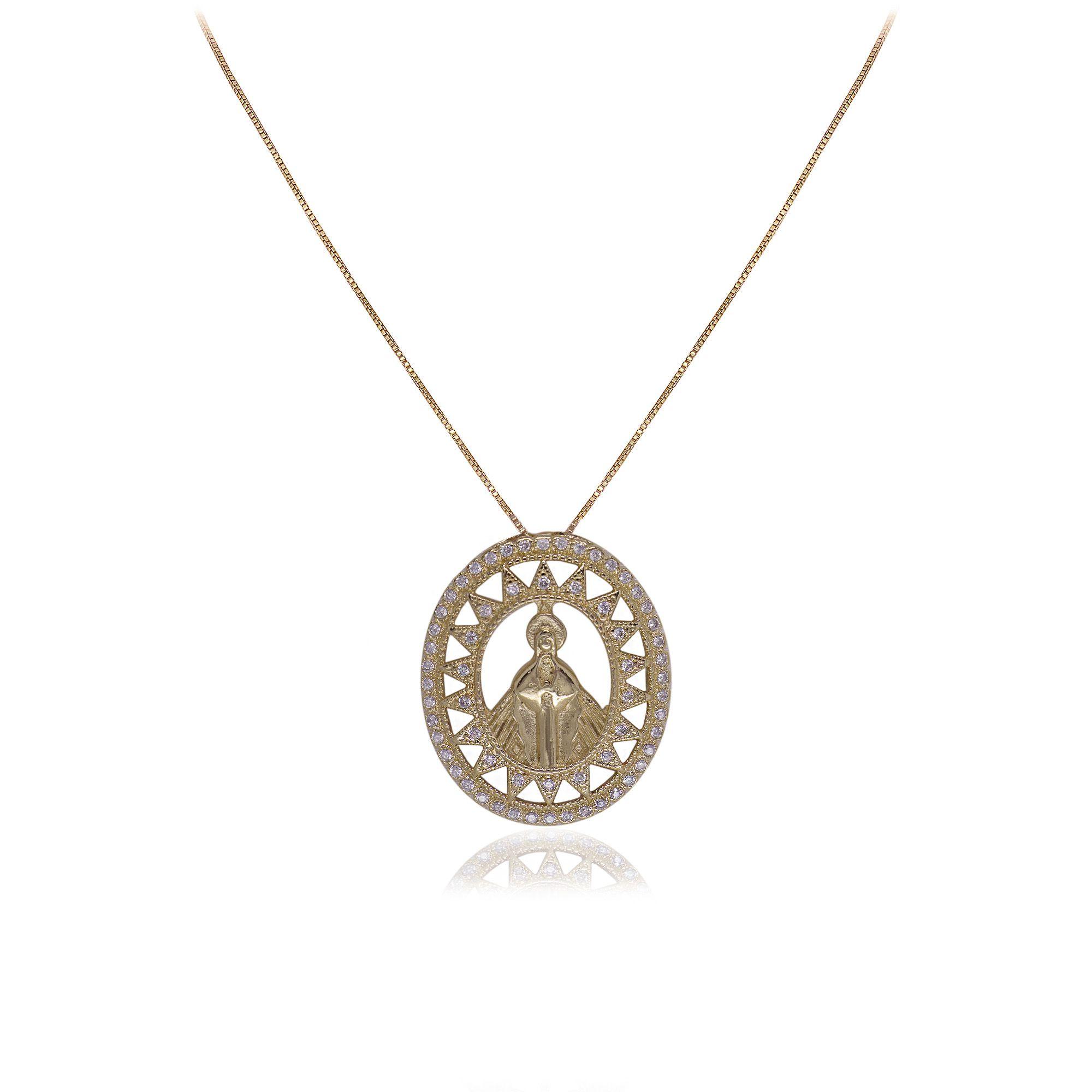 Colar semijoia Mandala Nossa Senhora das Graças com zircônia folheado a ouro 18k ou rhodium