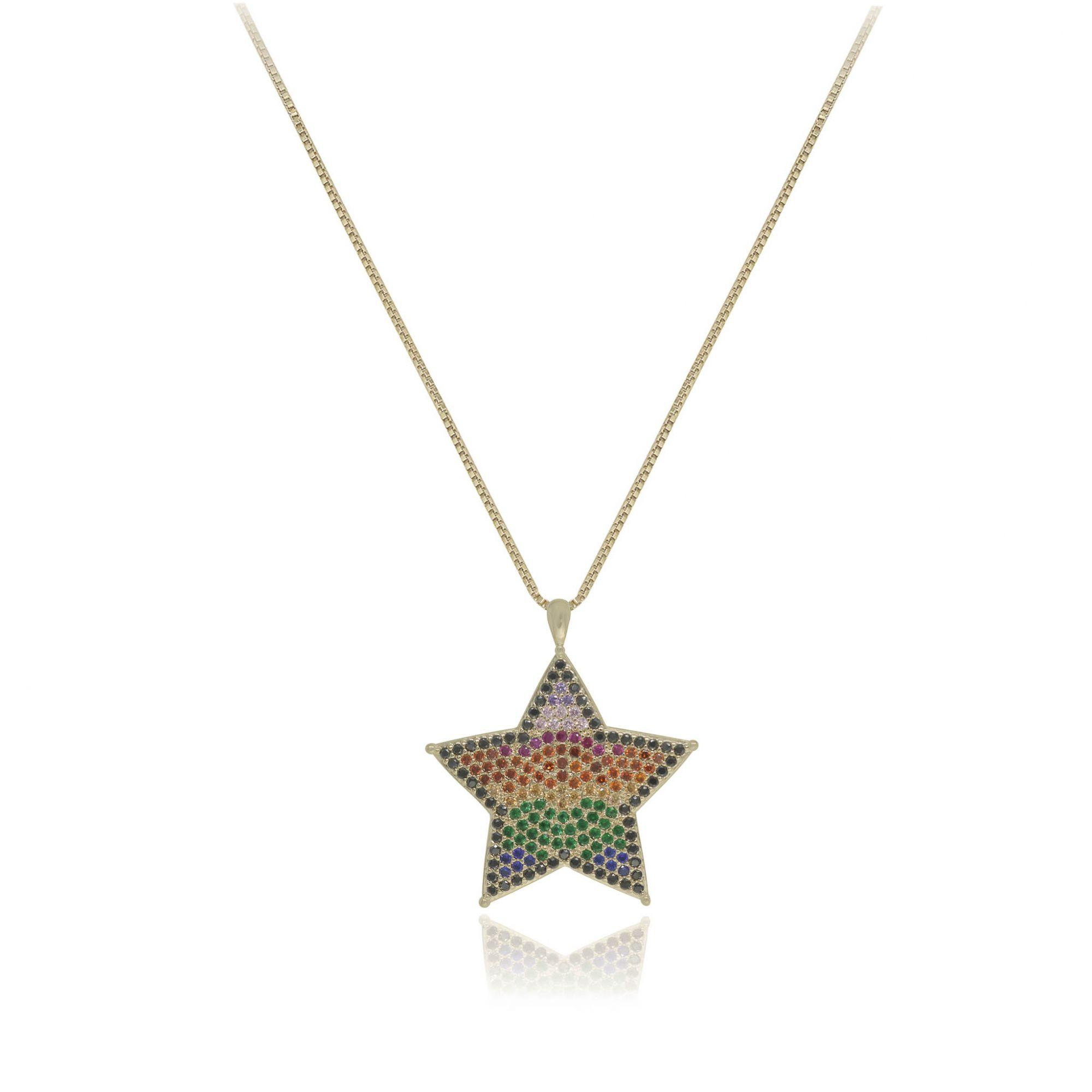 Colar folheado semijoia cravejada em zirconia color Estrela