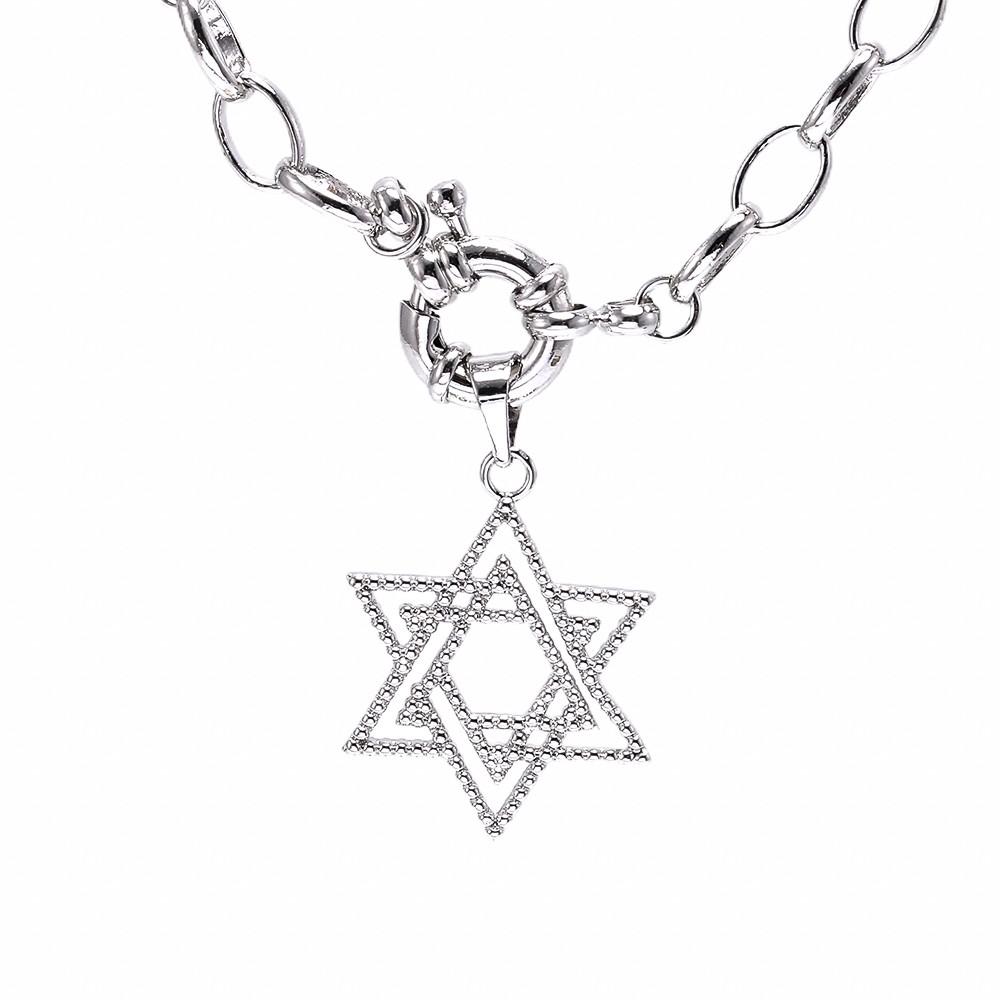 Colar semijoia Estrela de Davi e elos em ouro 18k / rhodium