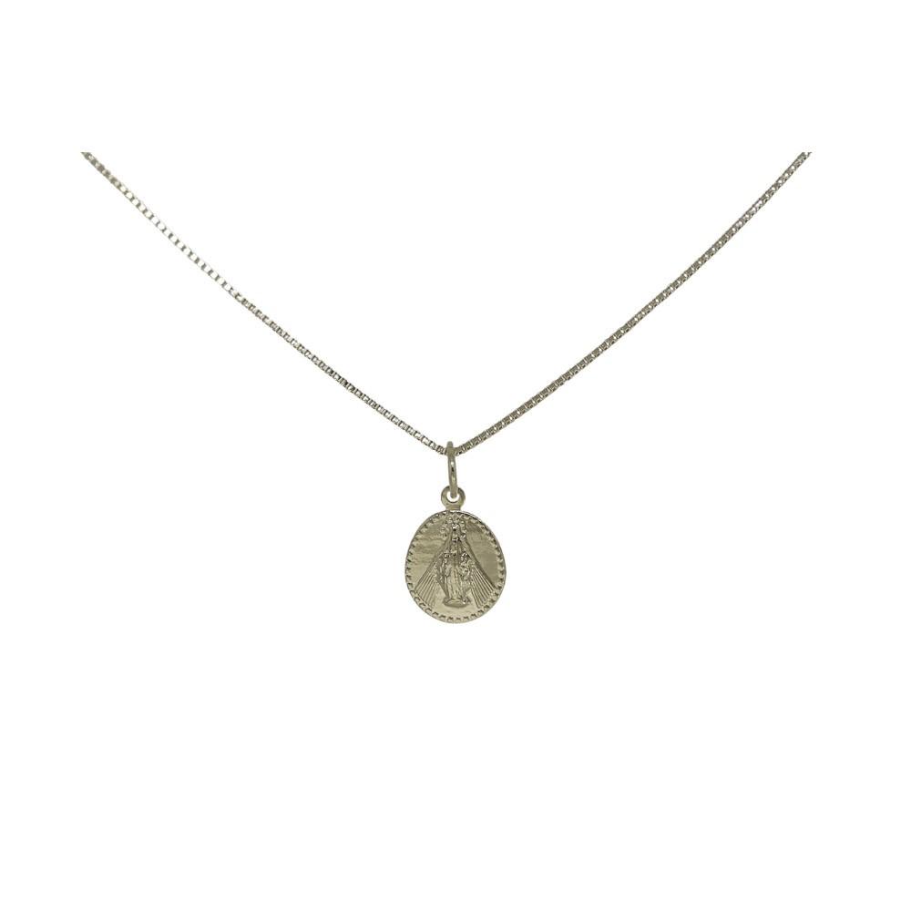 Colar semijoia medalha Nossa Senhora das Graças folheado a ouro 18k ou ródio