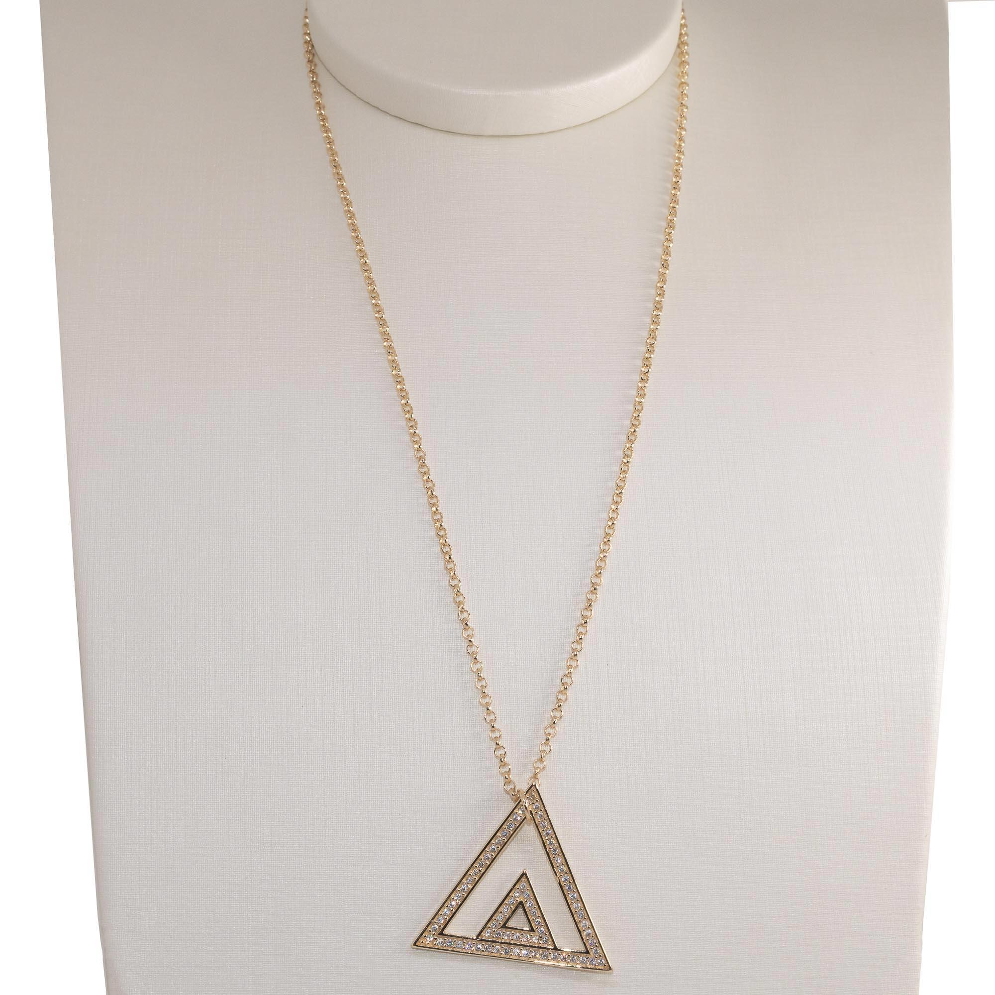 Colar Semi joia  triângulo duplo Mimos folheado a ouro 18k ou rhodium