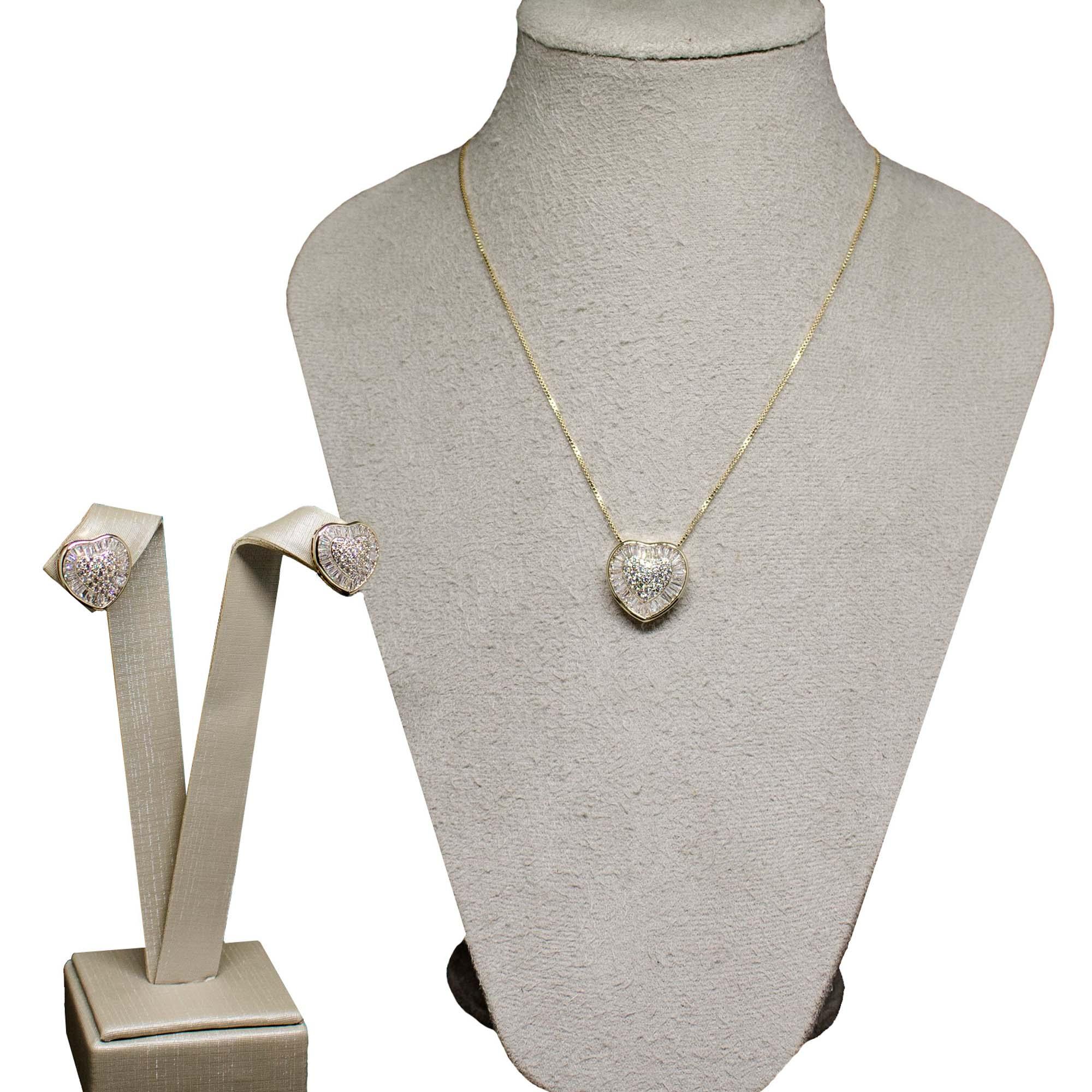 Conjunto Semi joia  coração de zircônia Baguettado banhado a ouro 18k ou rhodium