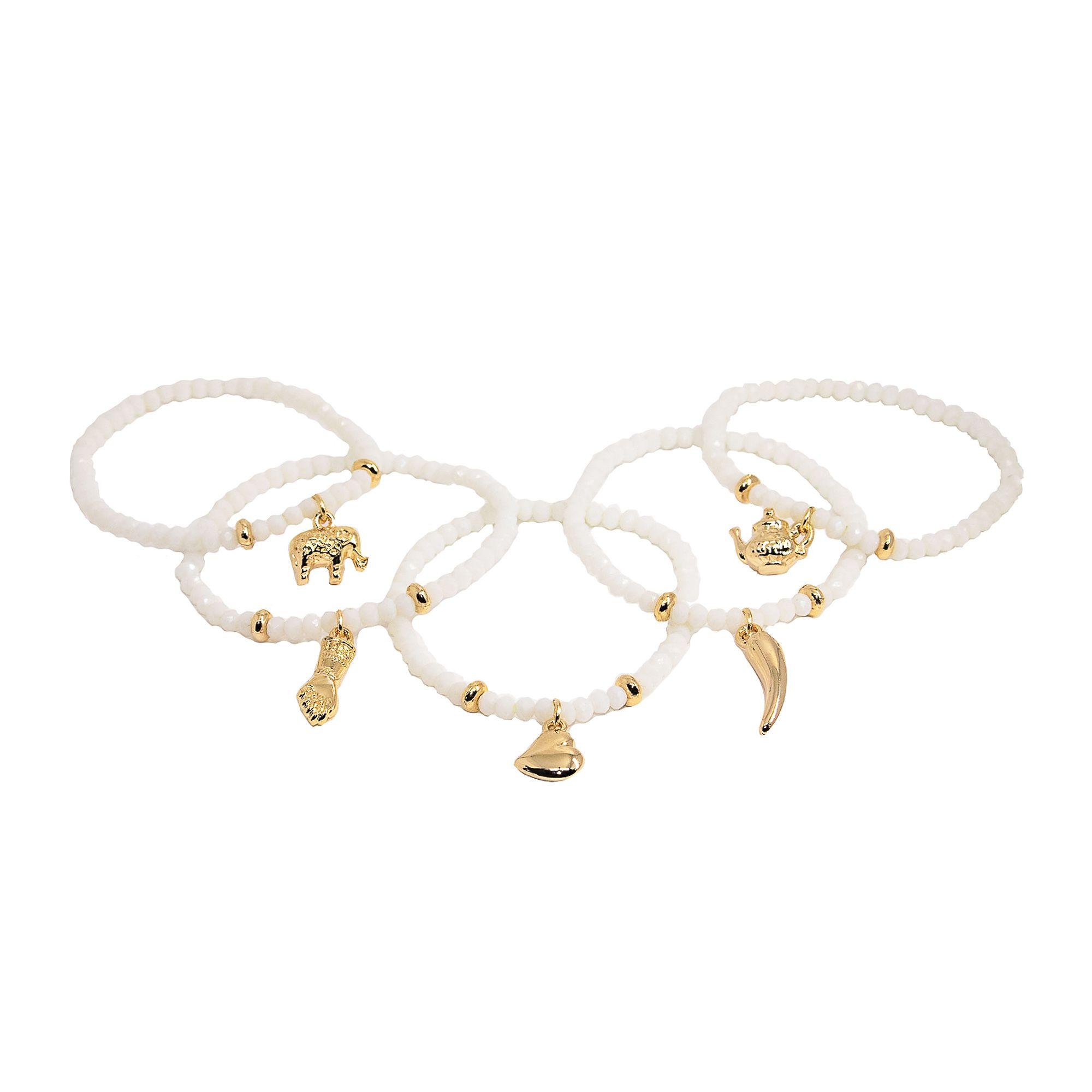 Conjunto de pulseiras cristais 5 fios banhado a ouro 18k ou rhodium
